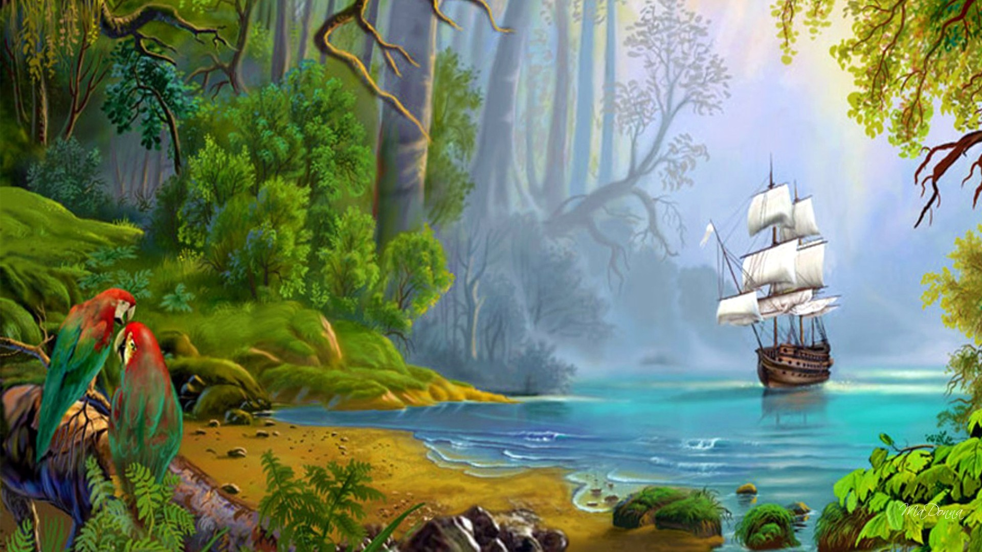 1920x1080 Tropics Tag - Island Trees Jungle Fantasy Tall Morning Ship Beach Mist  Sailing Light Tropics Pirate