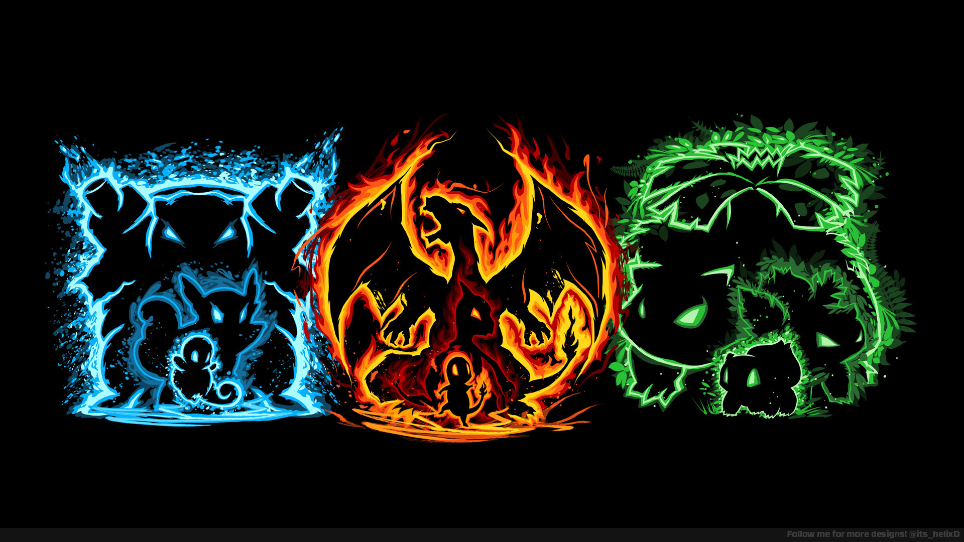 1920x1080 Evolution of Fire, Water, and Grass (1080p Wallpaper). Thanks for all