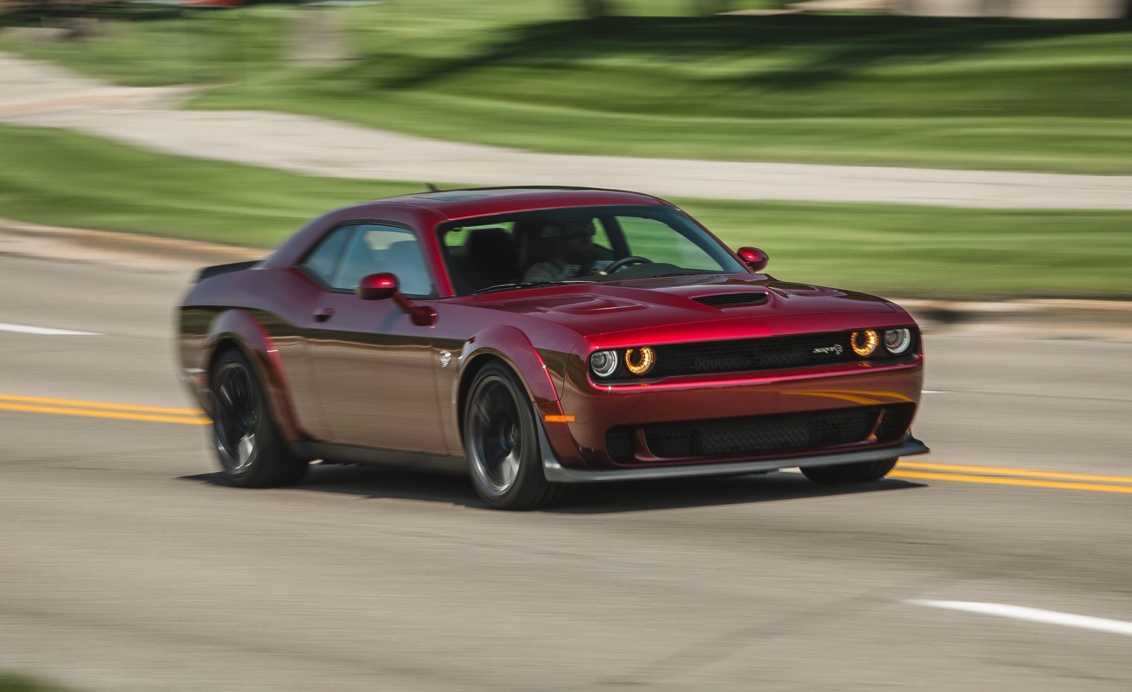2250x1375 View in gallery 2018 Dodge Challenger SRT Hellcat Widebody (Color: Octane  Red) Front Three-Quarter