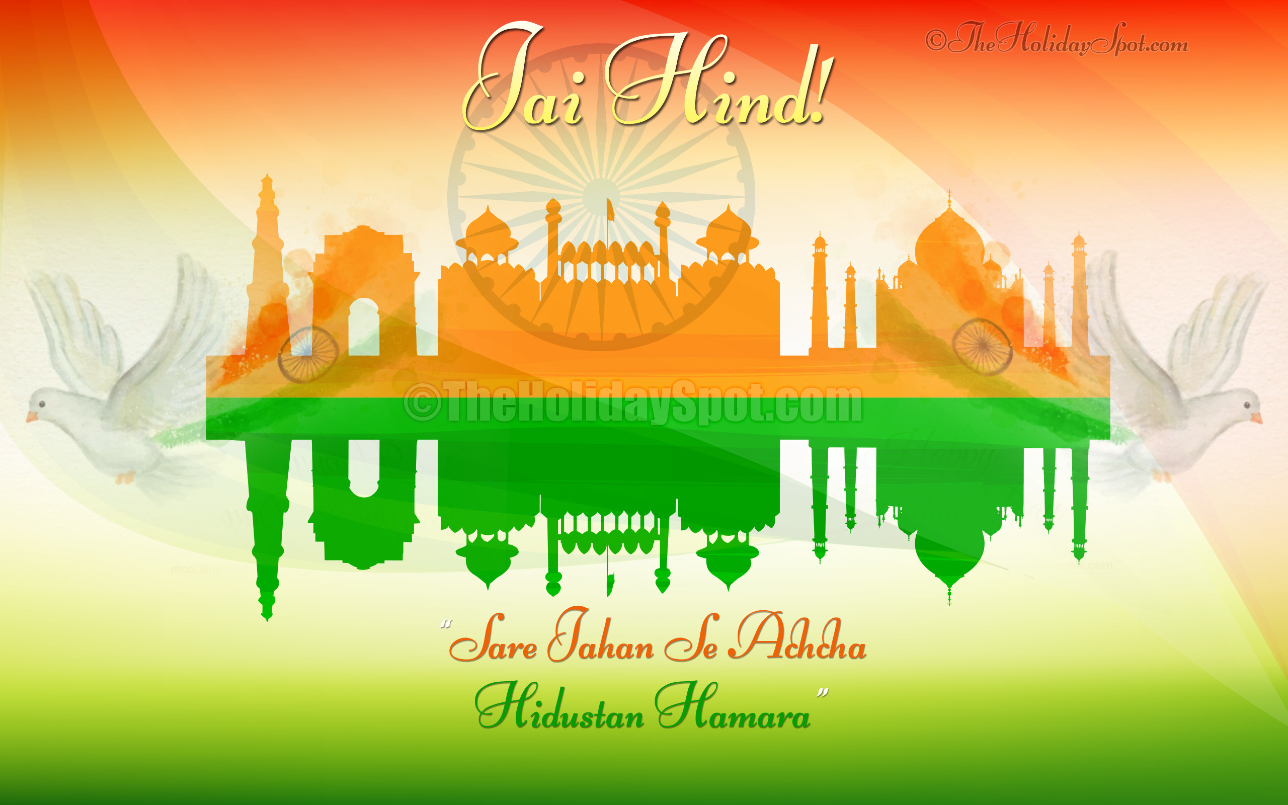 2560x1600 Indian Independence Day Wallpaper - Red Fort, India Gage, Qutub Minar, Taj  Mohal
