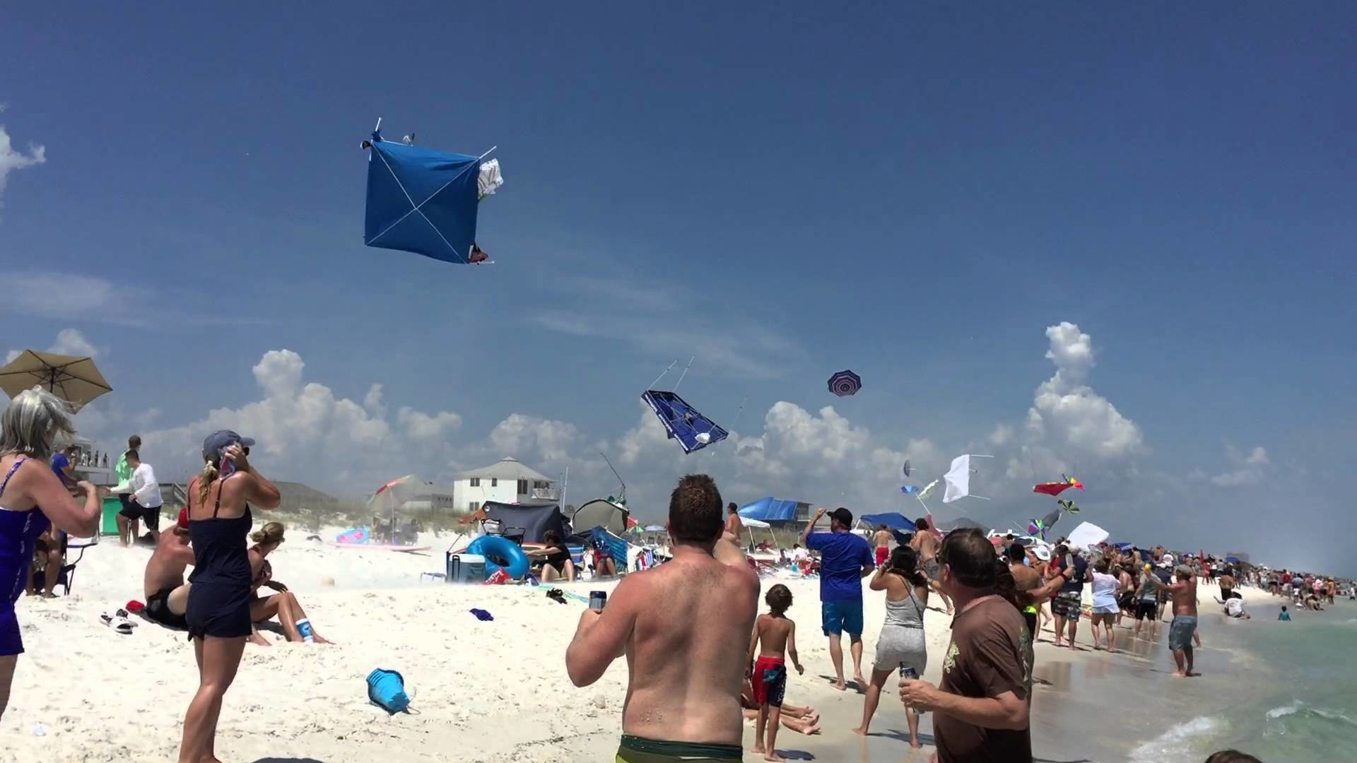 1920x1080 Blue Angels Doing a Low Fly-By Over Pensacola Beach Causing Tents &  Umbrellas to Fly Into the Air