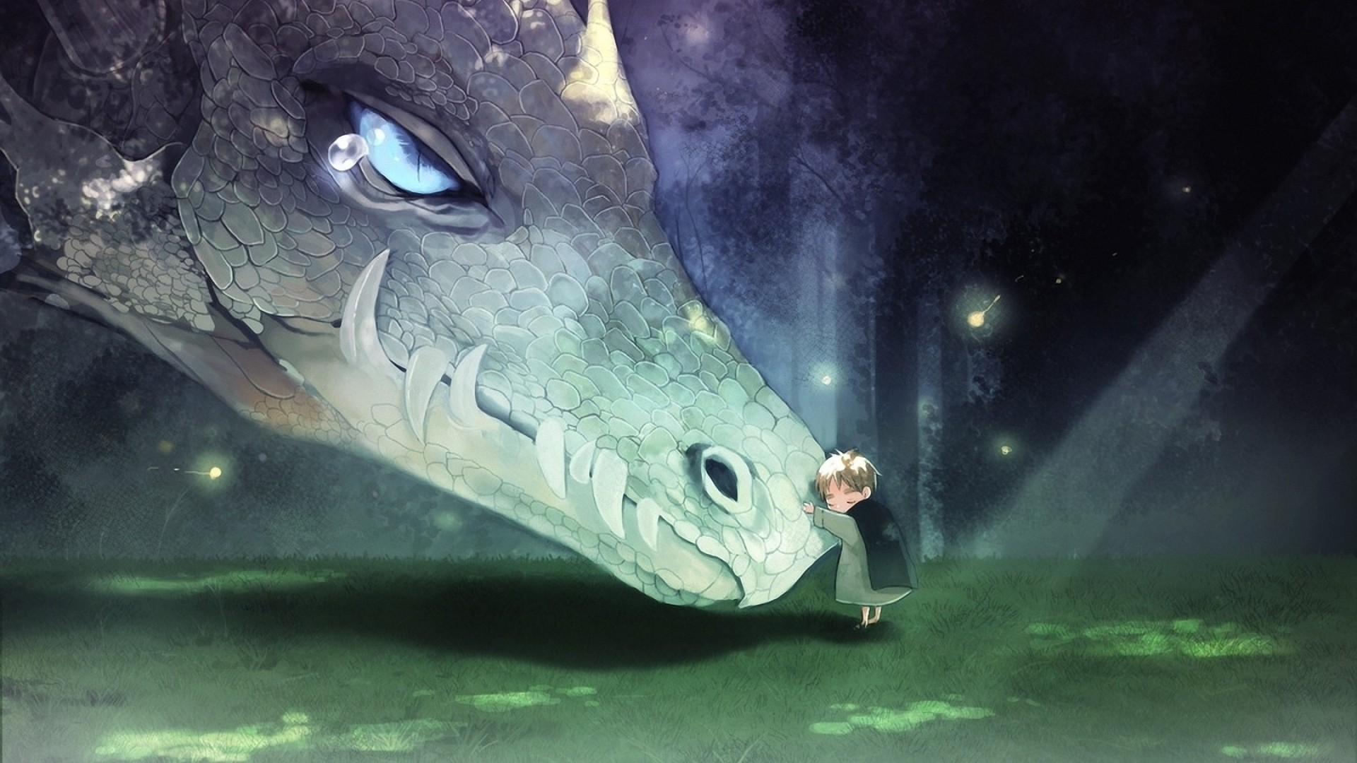 1920x1080  Wallpaper anime, fantasy, dragon, baby, friends