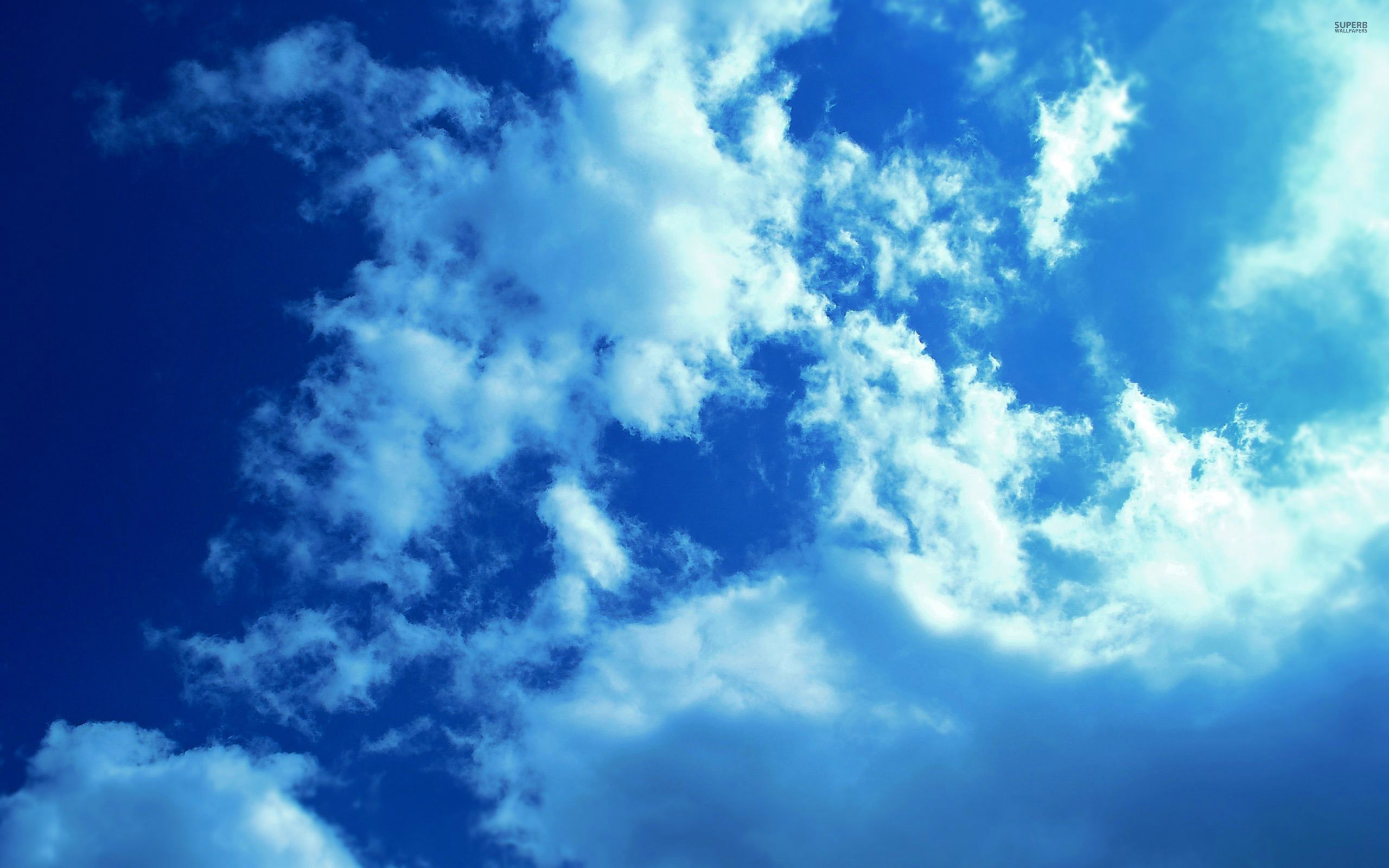 2560x1600 Download White clouds and blue sky wallpaper