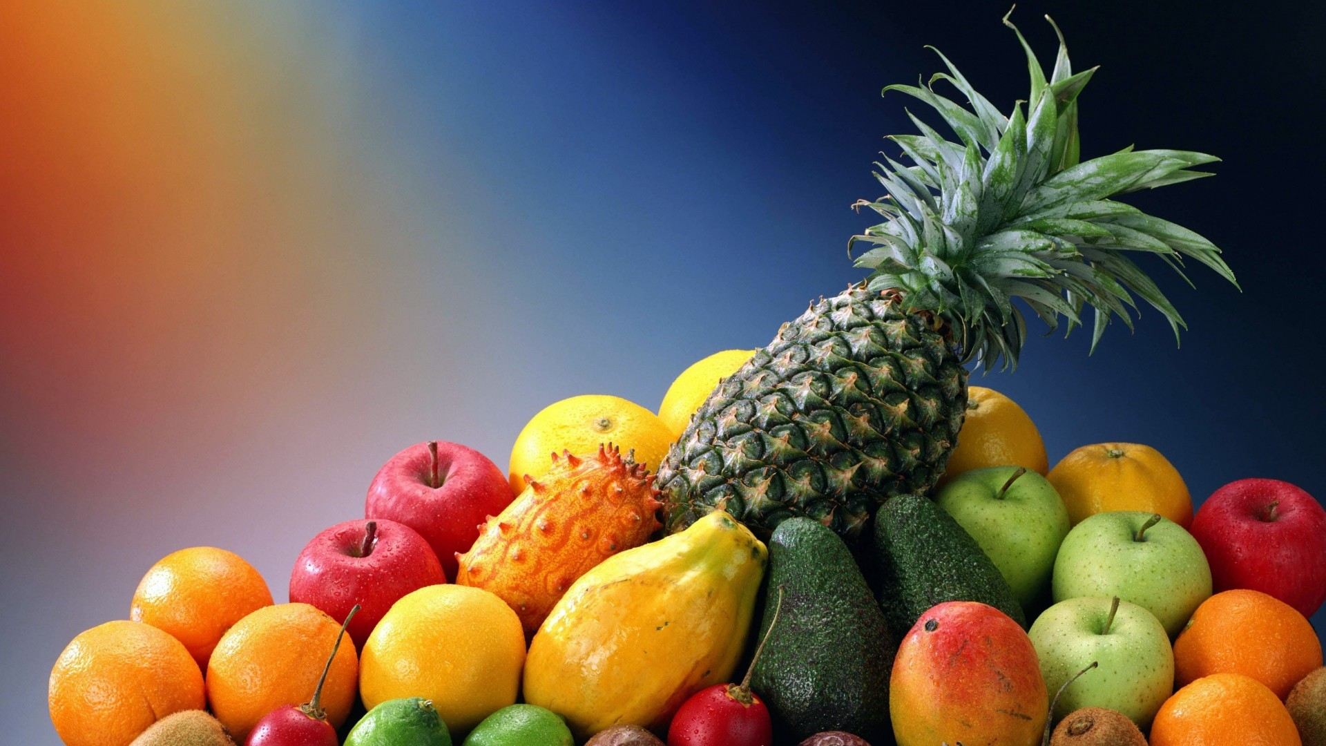 1920x1080  Wallpaper fruit, exotic, pineapple, apple, avocado, kiwi