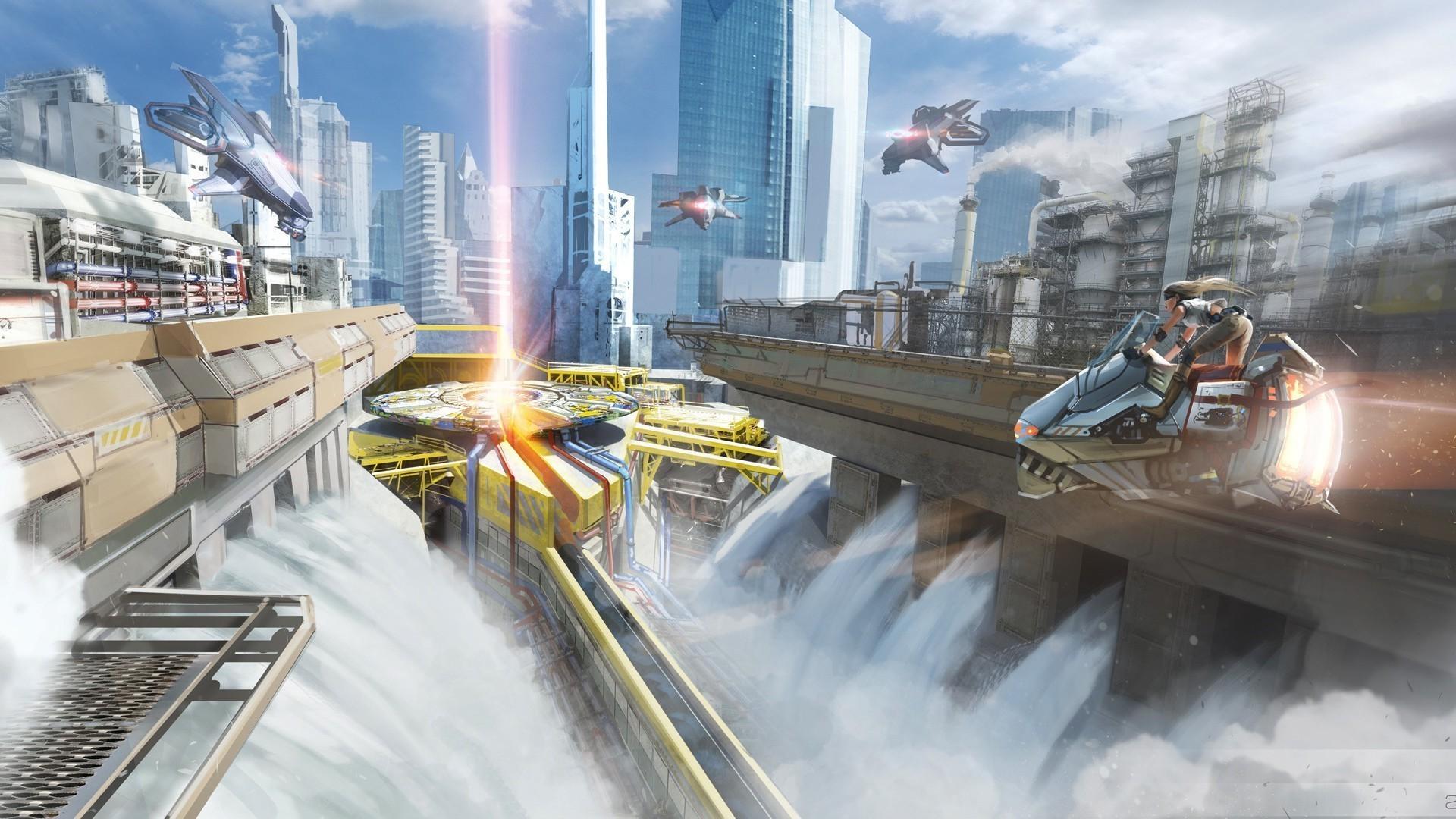 2400x1080 Future Light City Resolution