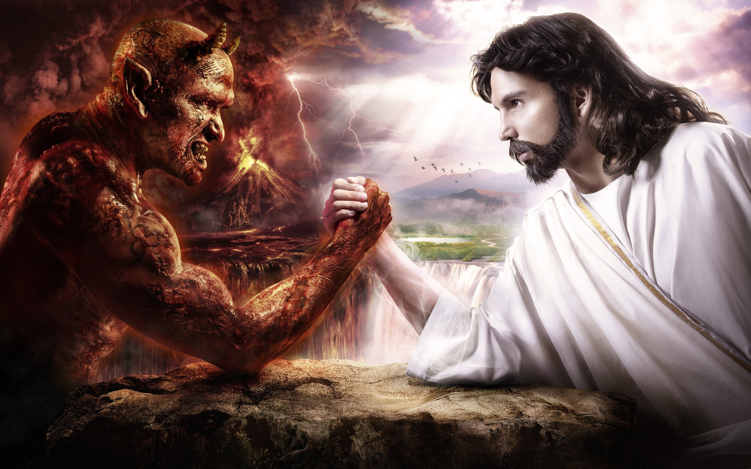 2560x1600 Happy Christmas Baby Jesus Santa Banta Cartoon Funny Wallpapers