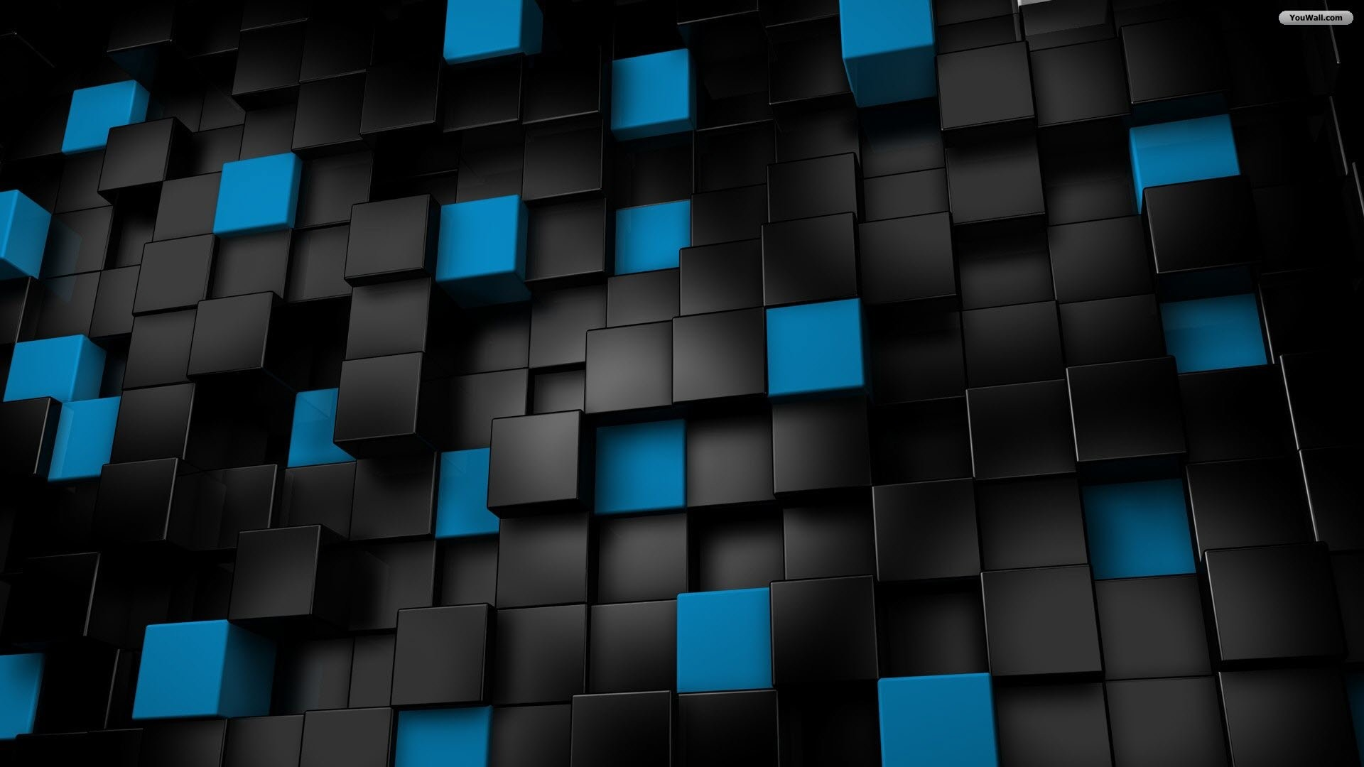 1920x1080 Download Black And Blue Cubes Wallpaper