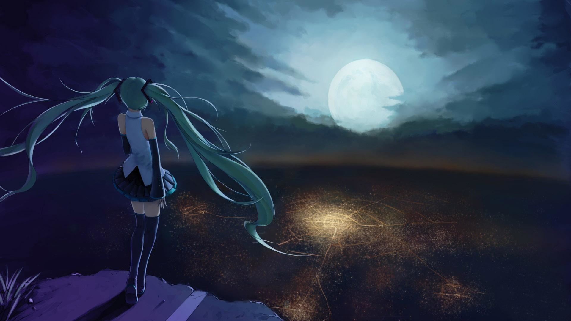 1920x1080 HD Hatsune Miku looking at the moon - Vocaloid Wallpaper