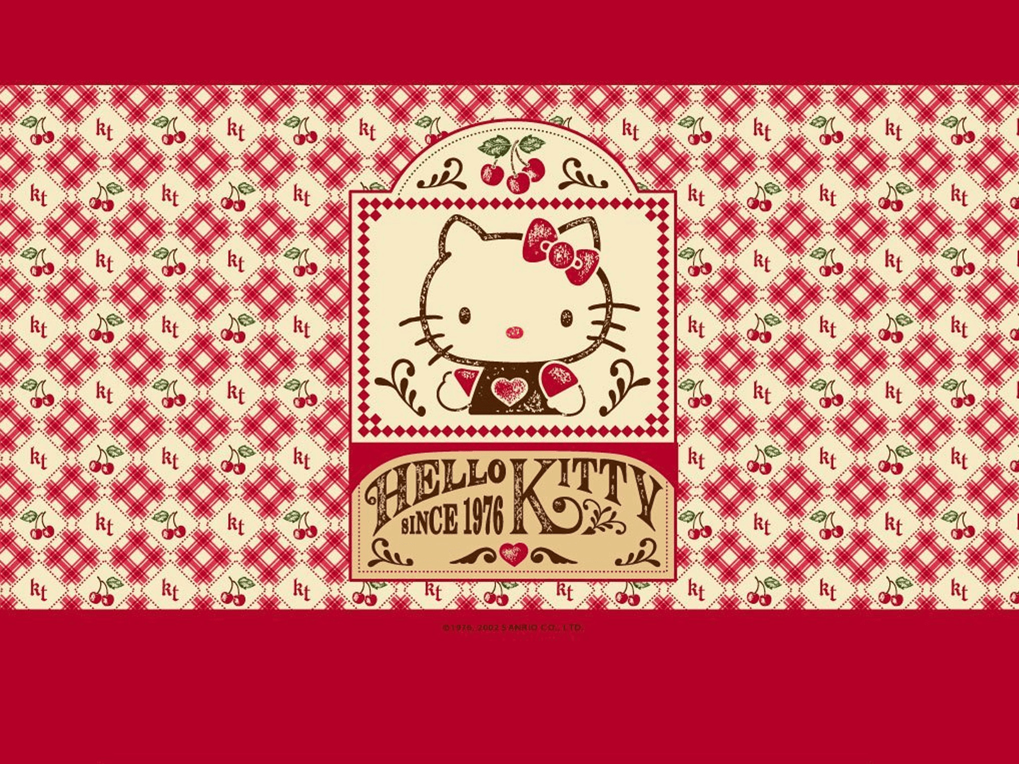 2000x1500 Screenshot of a red and brown vintage Hello Kitty wallpaper