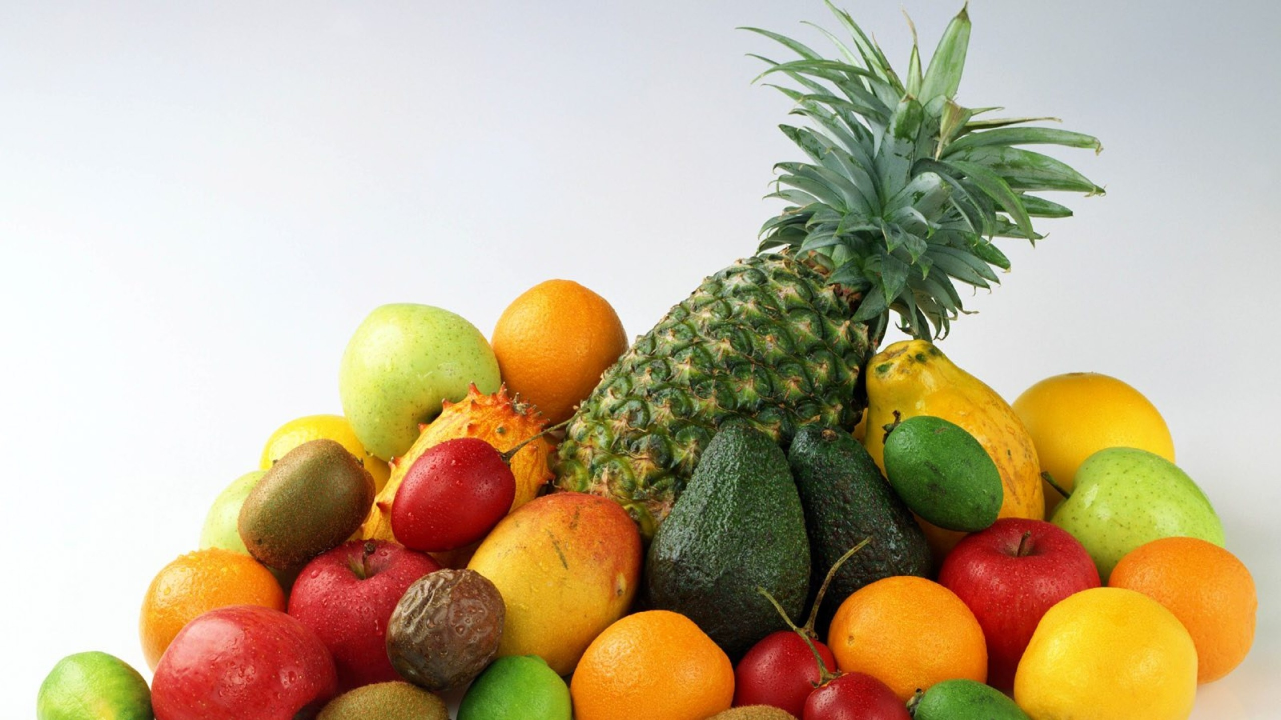 2560x1440  Wallpaper fruit, salad, pineapple, apples, oranges