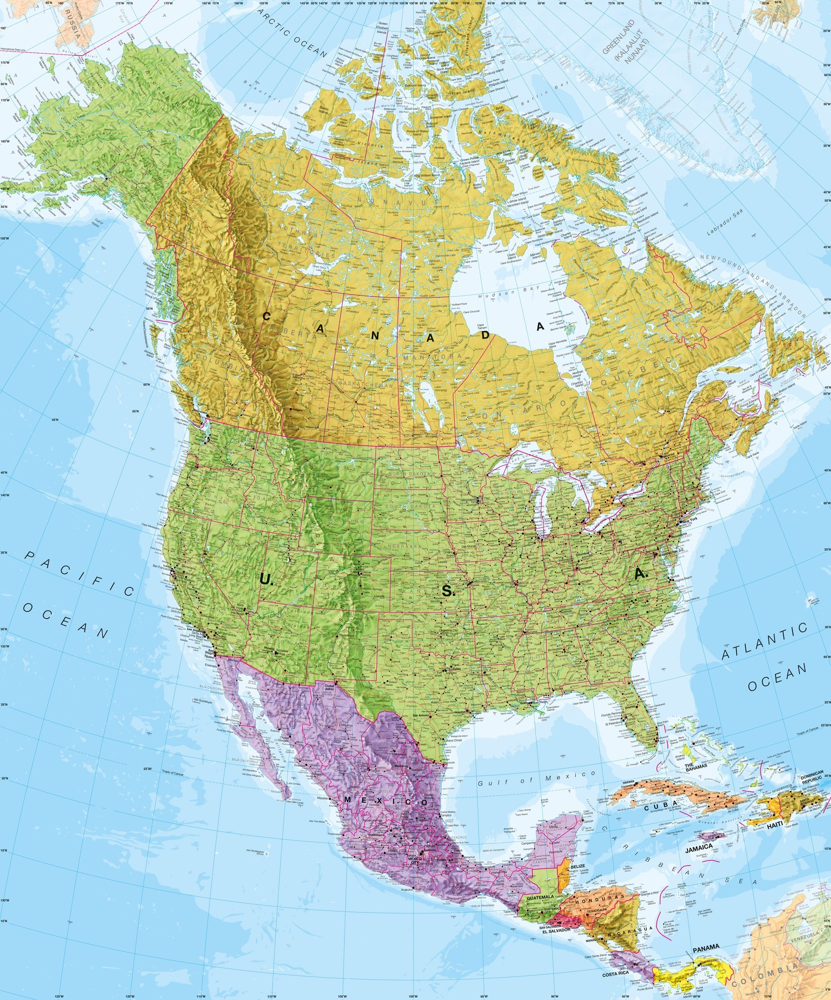 1661x2000 Political North America Map Wallpaper Mural