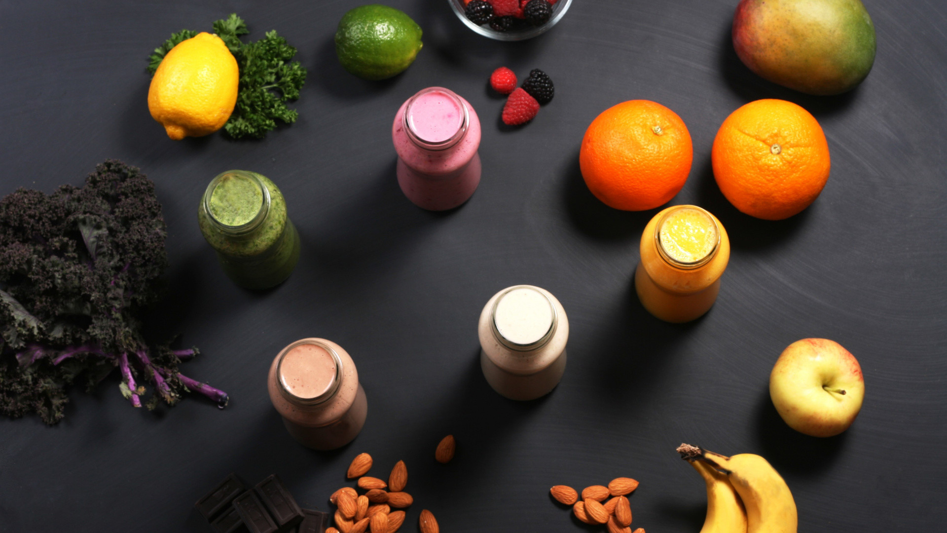 1920x1080  wallpaper Smoothies, fruits, banana, apple, orange, nuts,  chocolate,