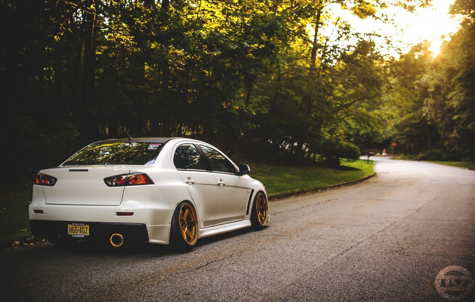 1920x1222 mitsubishi evolution evo x lancer gold road light