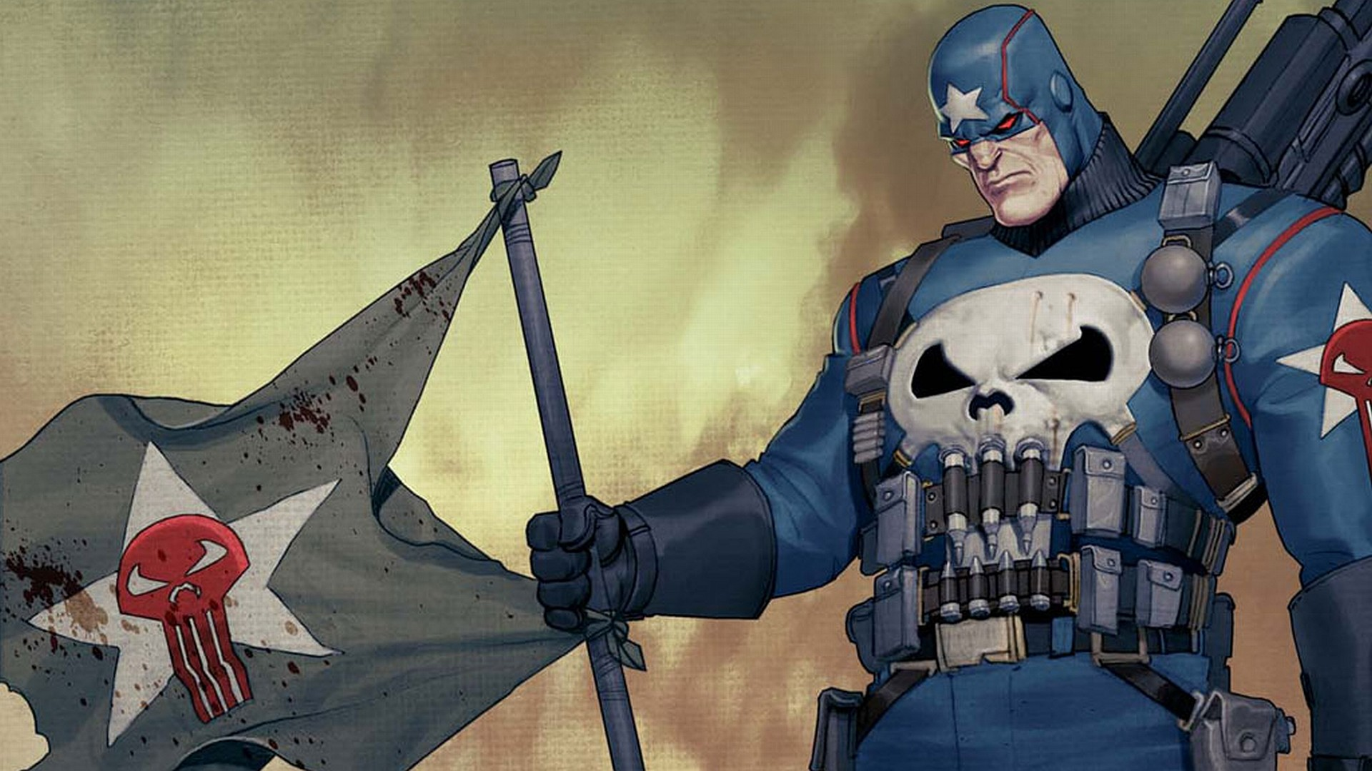 1920x1080 the punisher with flag Wallpaper Background | 20253
