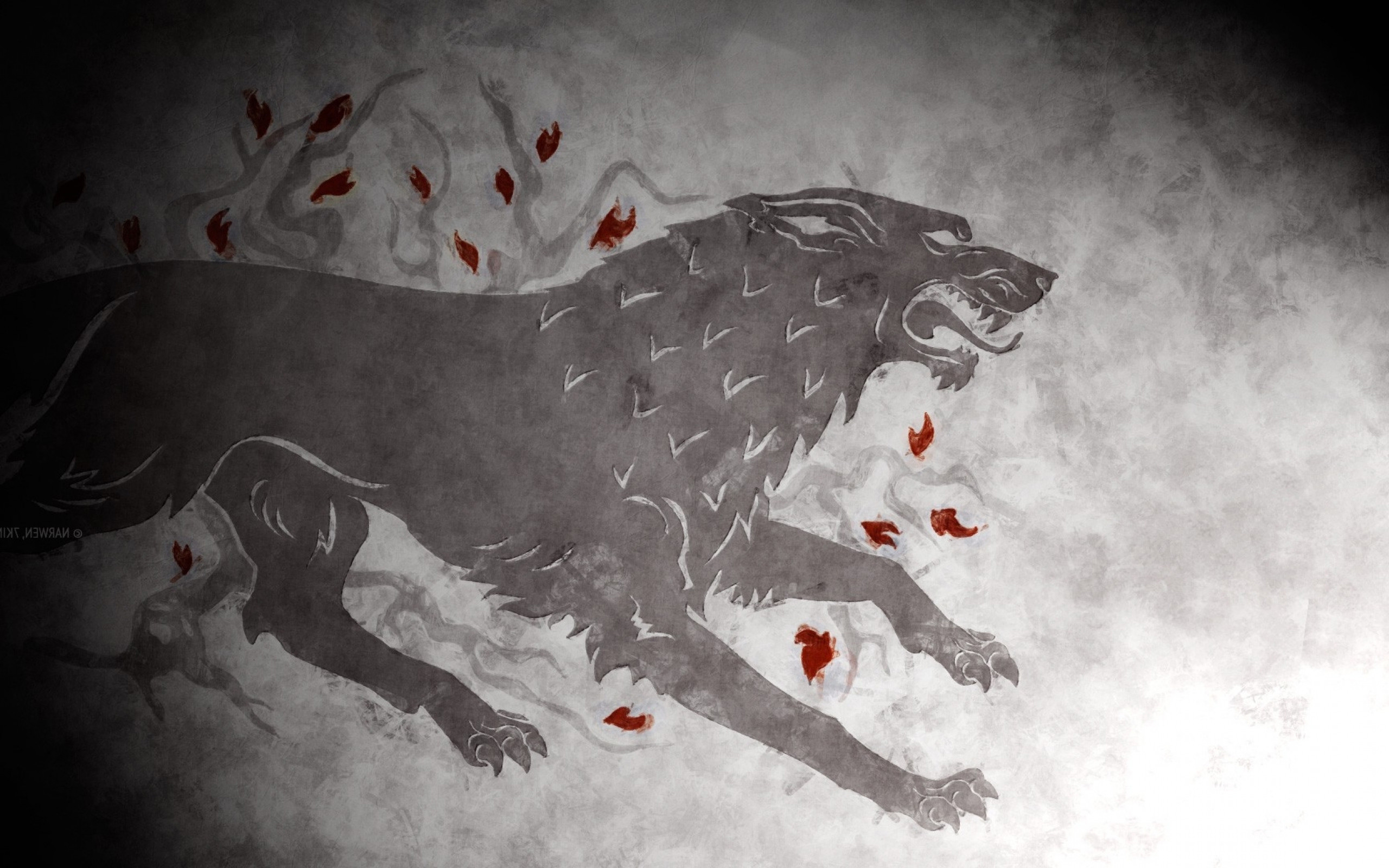 2560x1600 ... house of stark, winter is comming, wolves , blood, paintiing, texture,