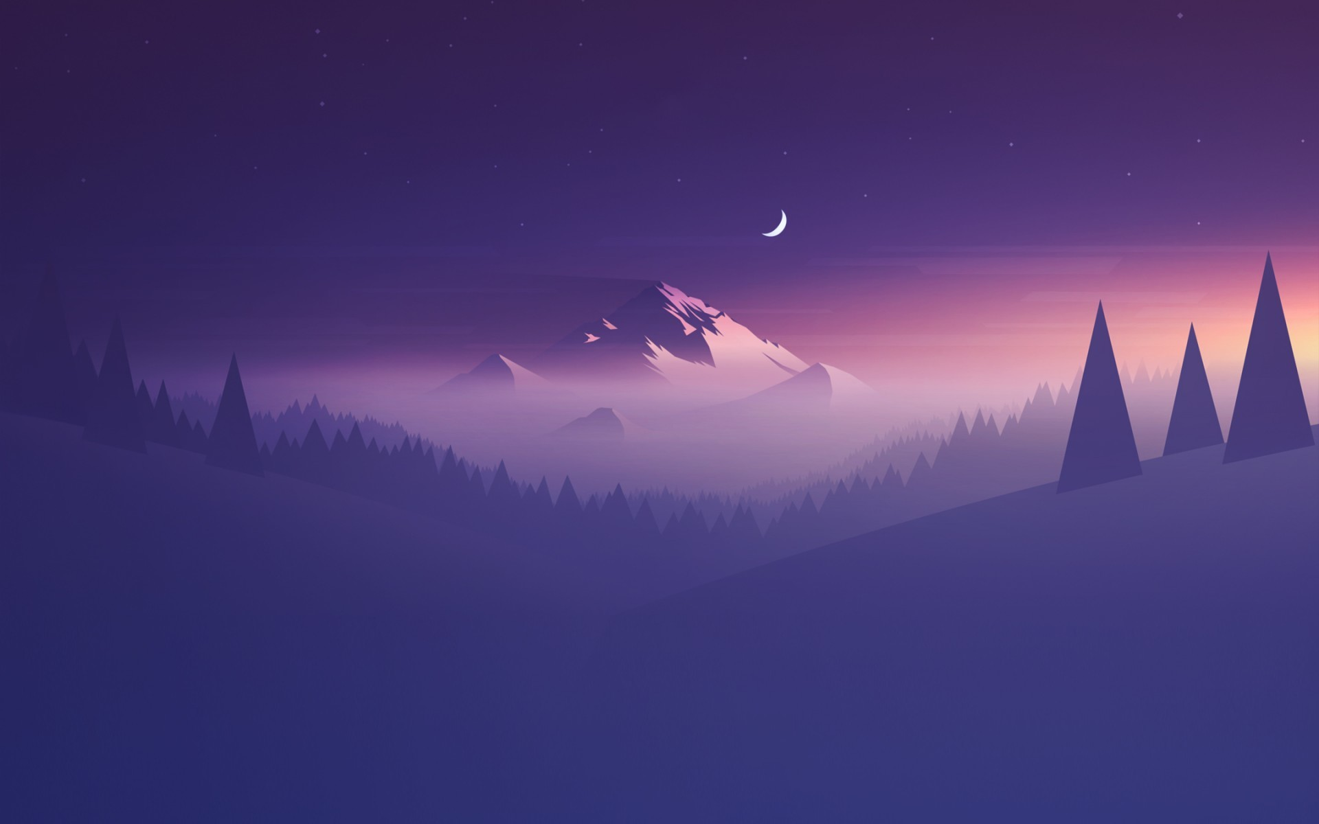 1920x1200 #artwork, #trees, #stars, #mountains, #landscape, #Moon, wallpaper