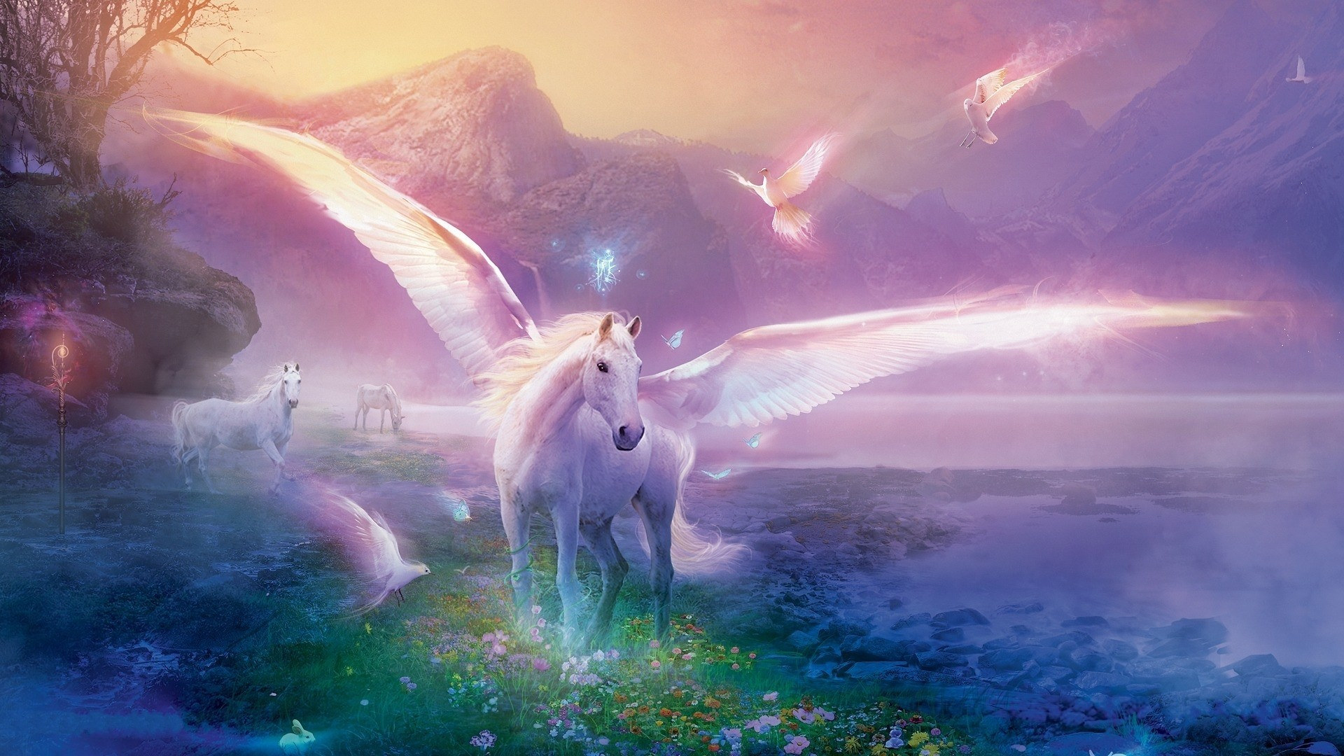 1920x1080 Preview wallpaper pegasus, horse, magic, flowers