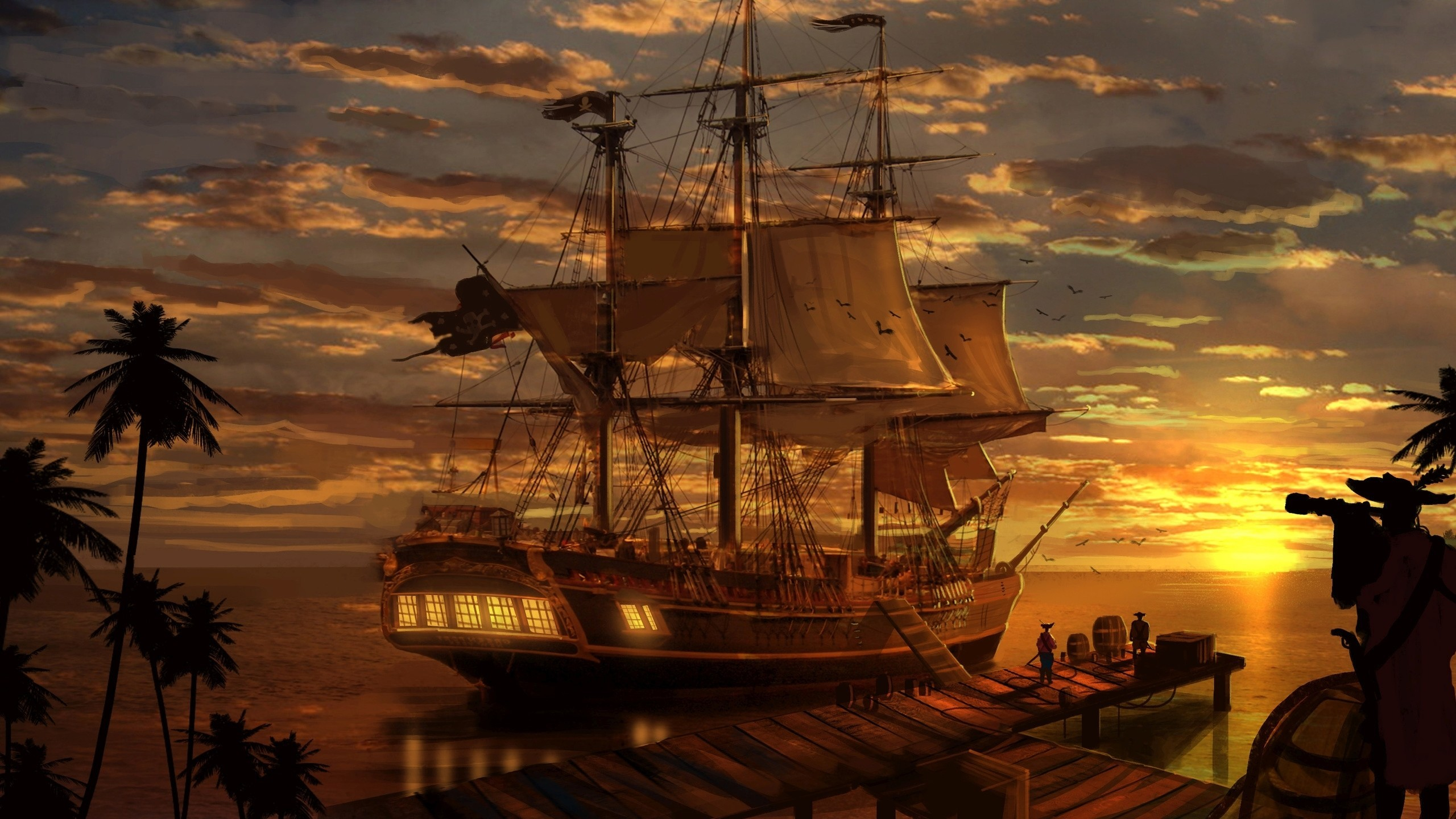 2560x1440  Pirate ship wallpaper #24699