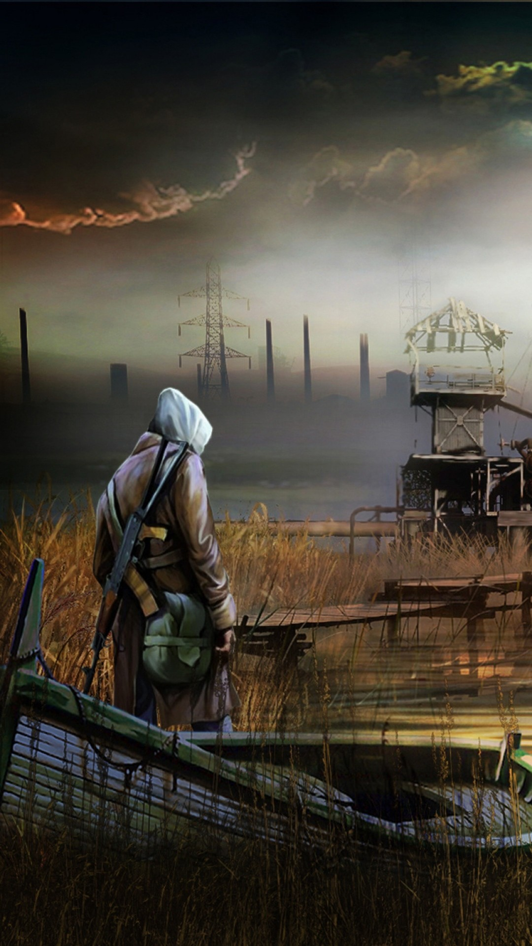 1080x1920  Wallpaper stalker, man, hood, lake, grass, art