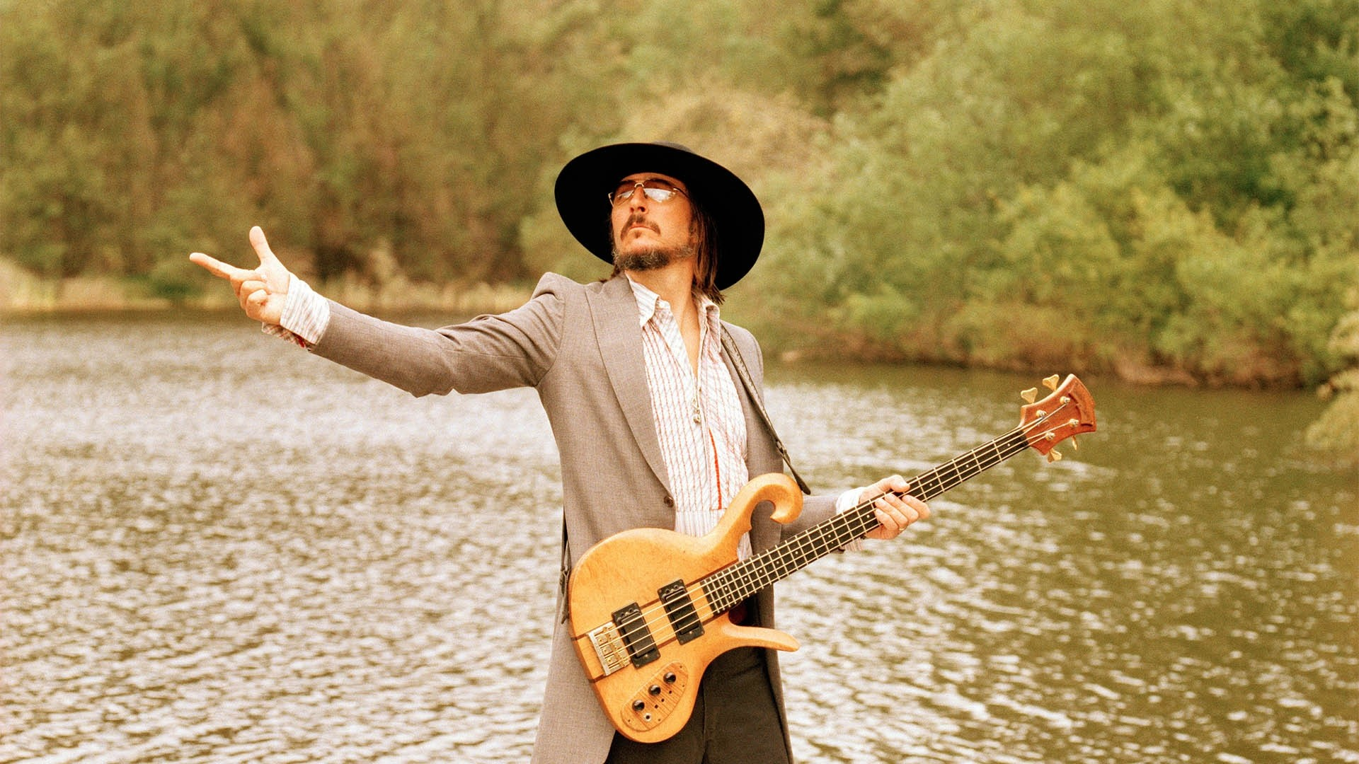 1920x1080 Preview wallpaper primus, guitar, lake, hat, daylight