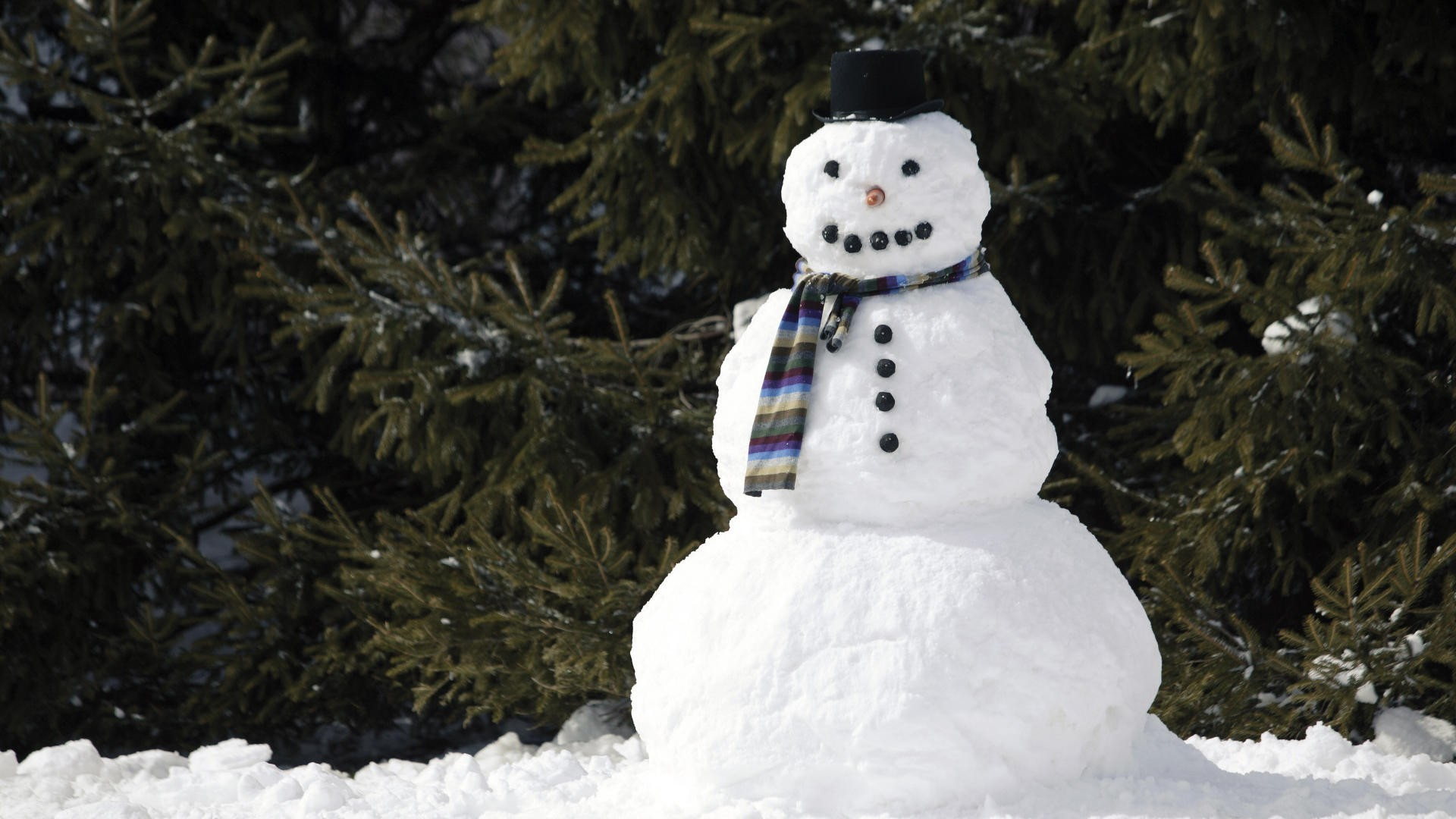 1920x1080 Snowman with a scarf
