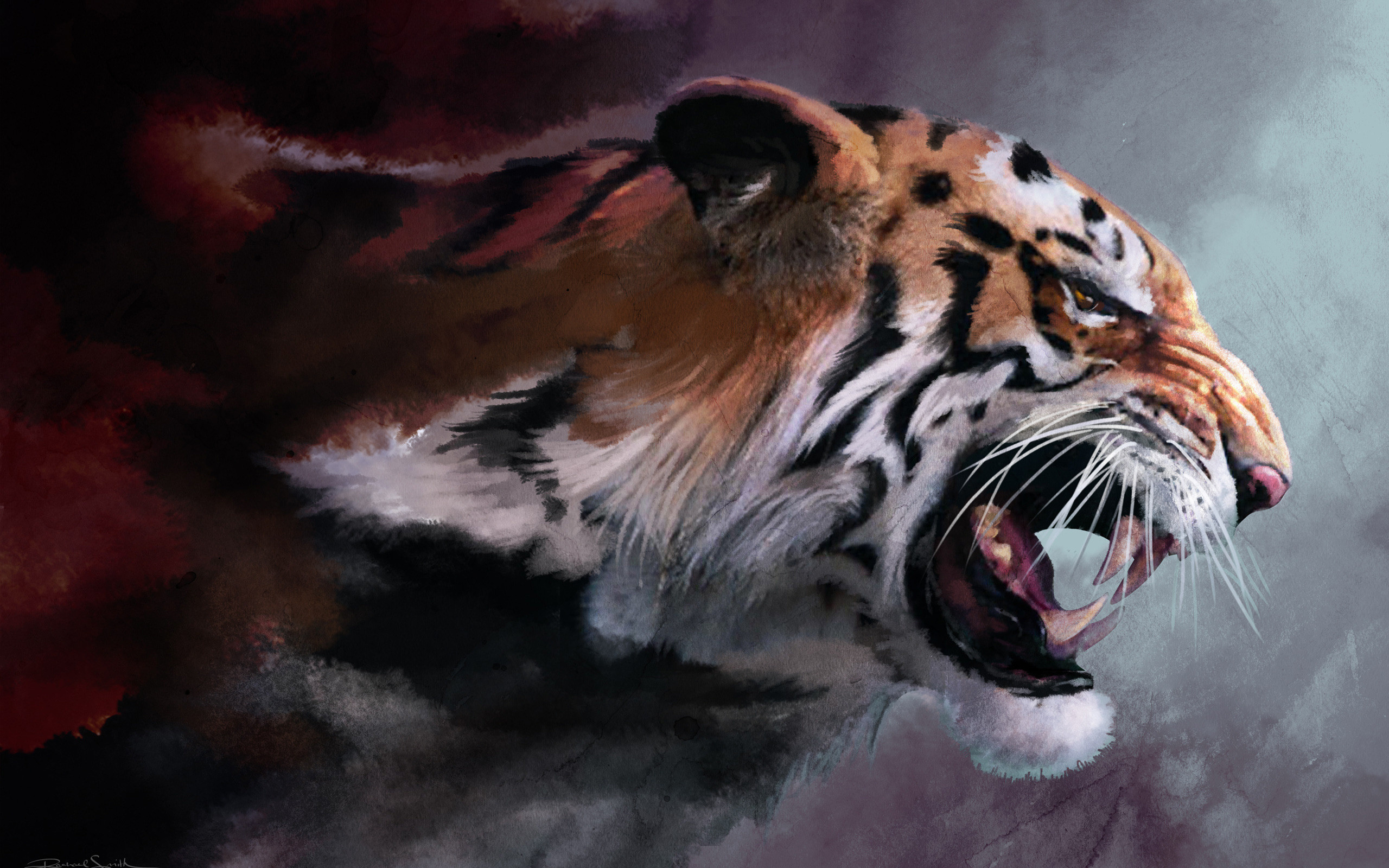 2560x1600  wild cat, big cat, tiger, fangs, maw, art, paint