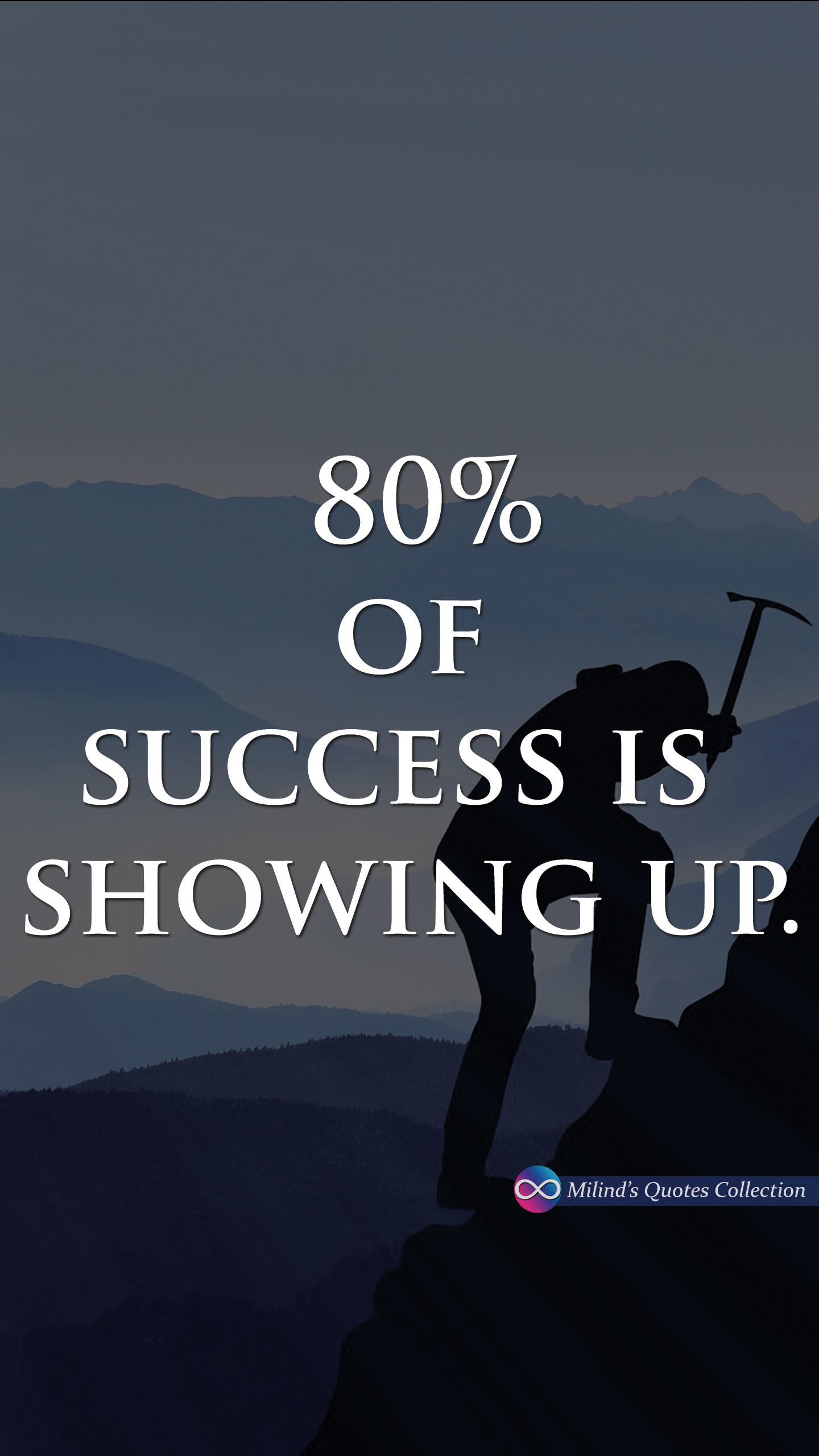1440x2560 80% of #success is #showing #up #MilindsQuotesCollection #Quotes #Wallpaper