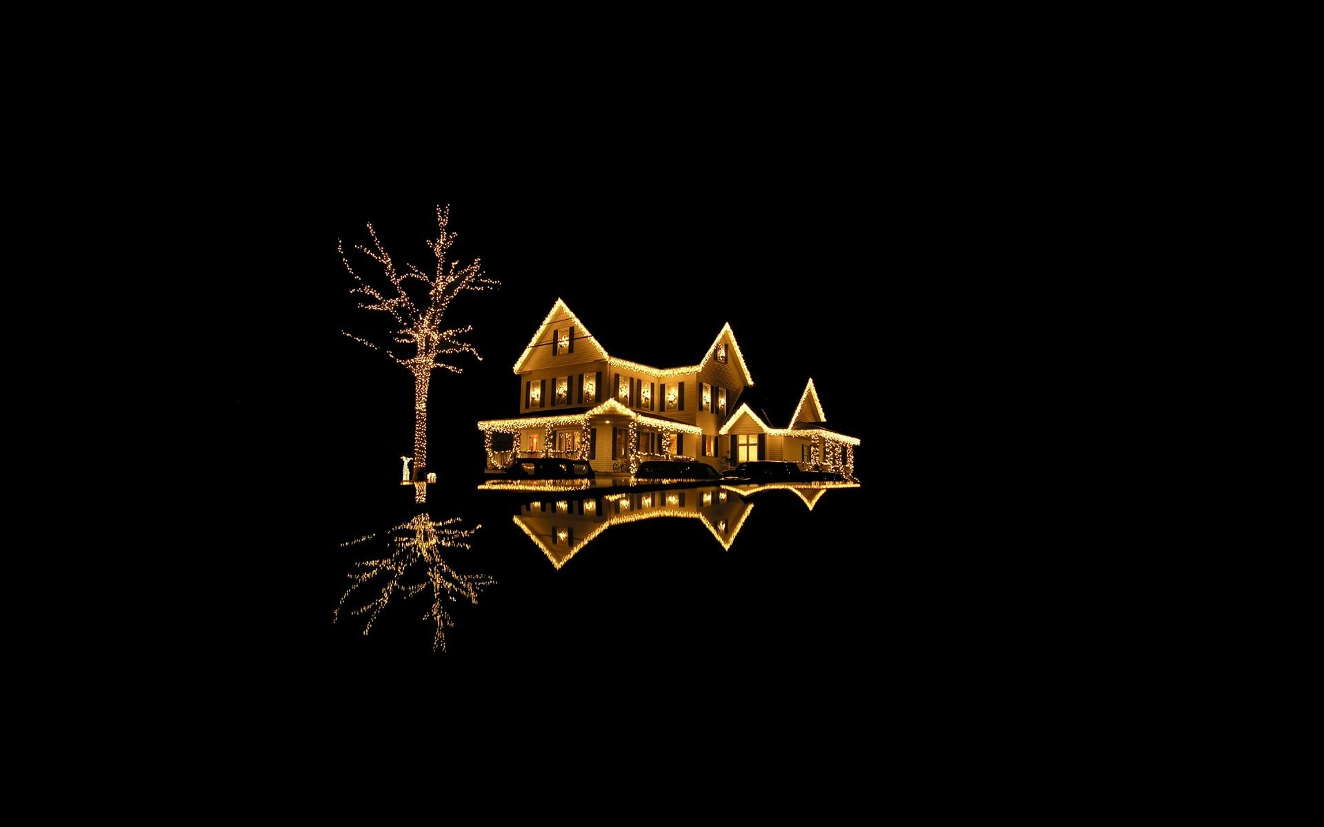 1920x1200 new year new year holiday merry christmas black background house  accommodation building house light lights gold