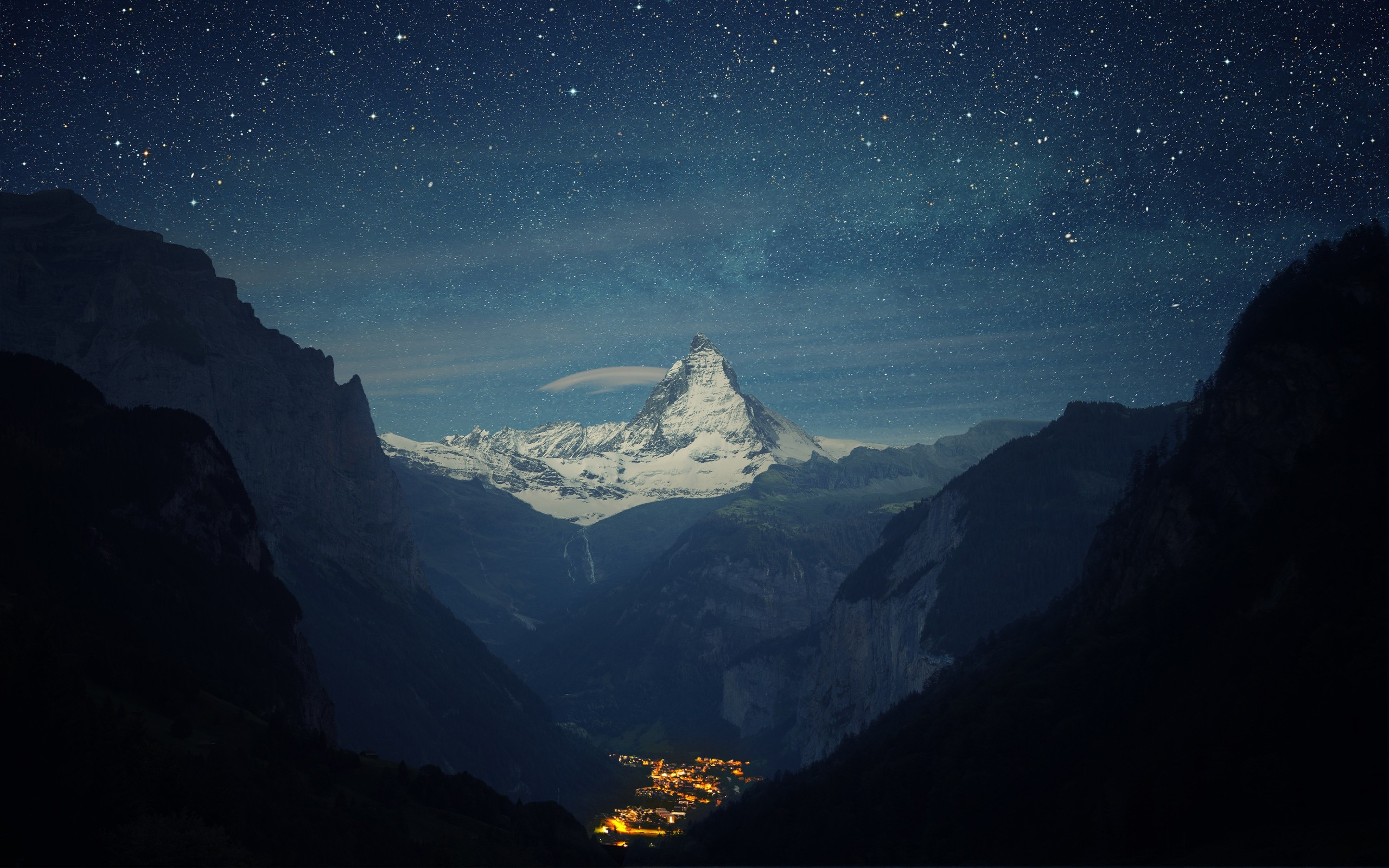 2560x1600 Preview wallpaper switzerland, alps, mountains, night, beautiful landscape