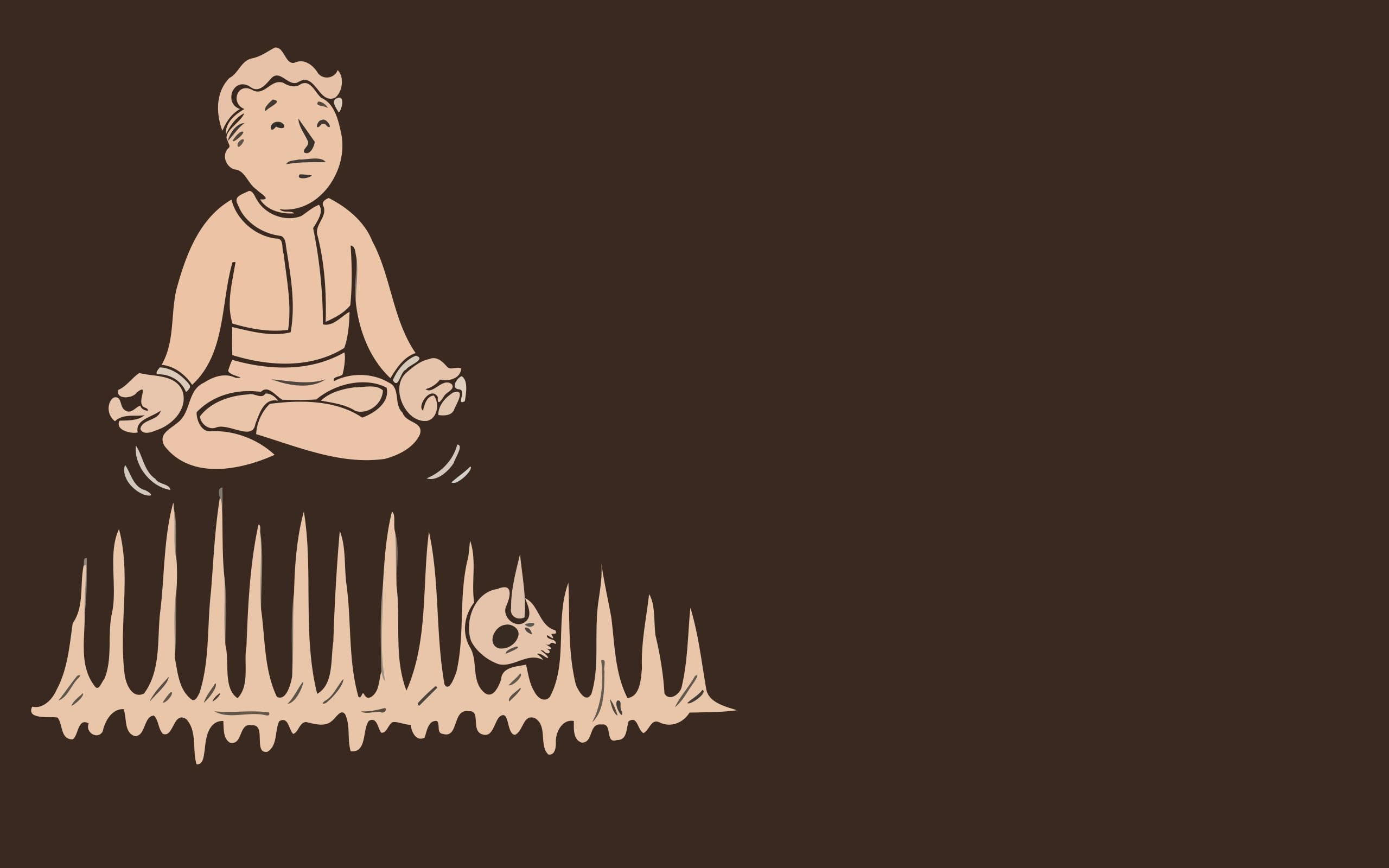2560x1600 Fallout brown Vault Boy simplistic simple pip boy wallpaper background