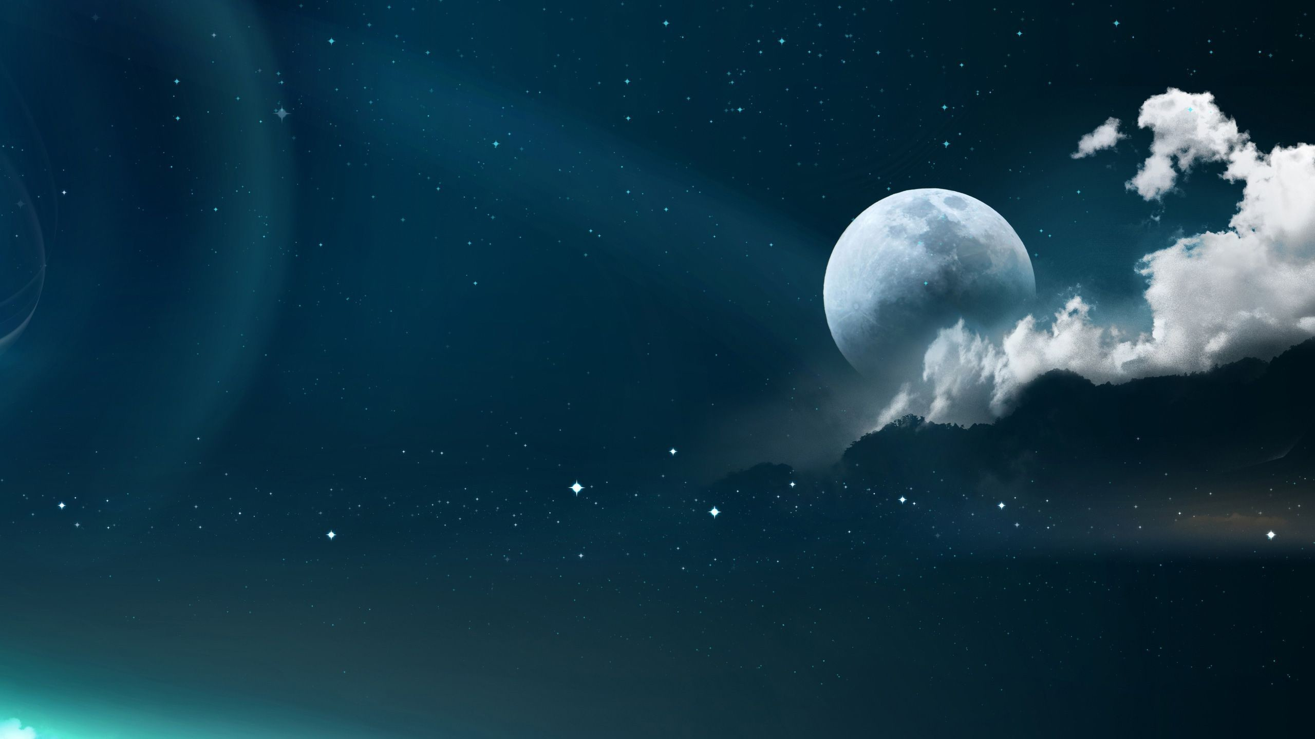 2560x1440 ... and stars HD Wallpaper  Moon ...