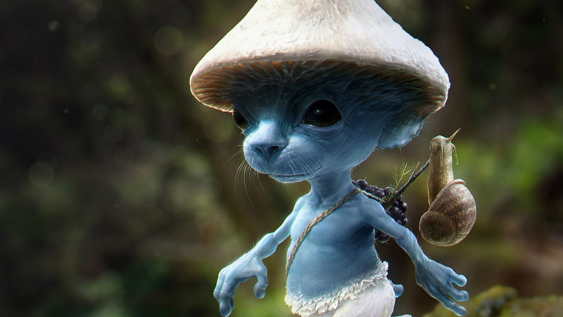 1920x1080 Fantasy Art Mushroom Smurf Wallpaper