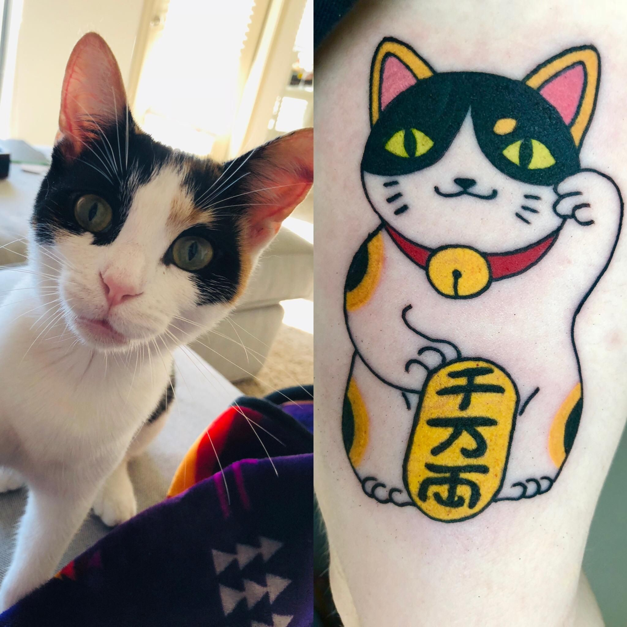 2048x2048 Immortalized my Japanese Bobtail Mochi into a lucky cat tattoo