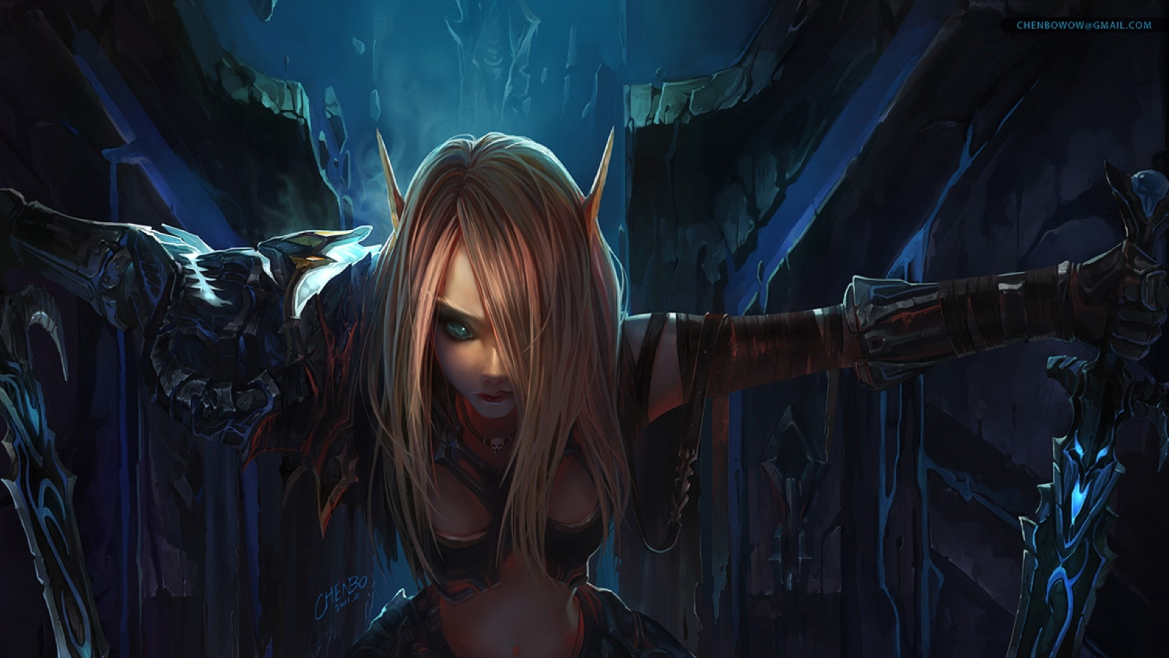 3840x2160 Preview wallpaper world of warcraft, elf, girl, hair, eye