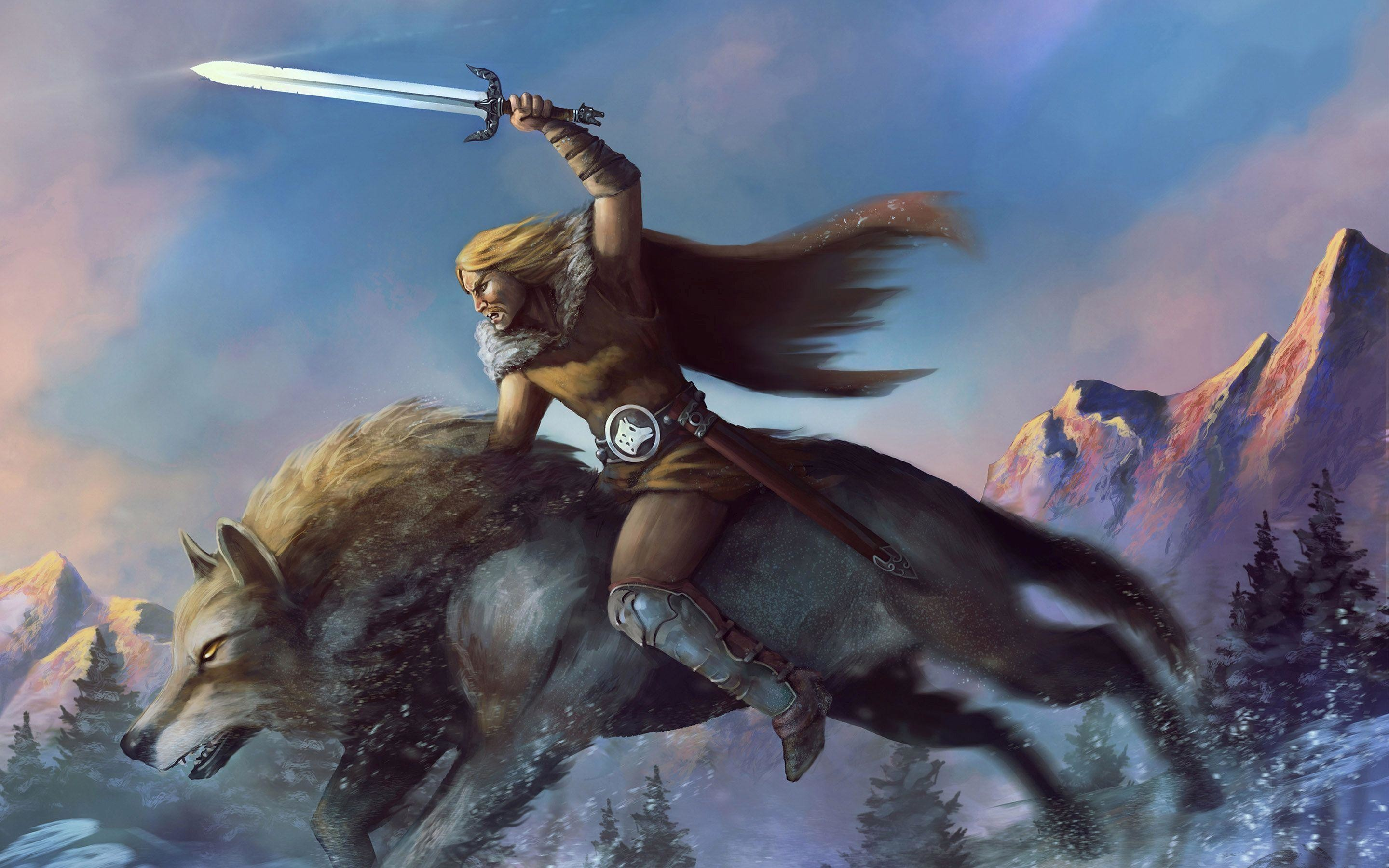 2880x1800 Warrior riding the wolf