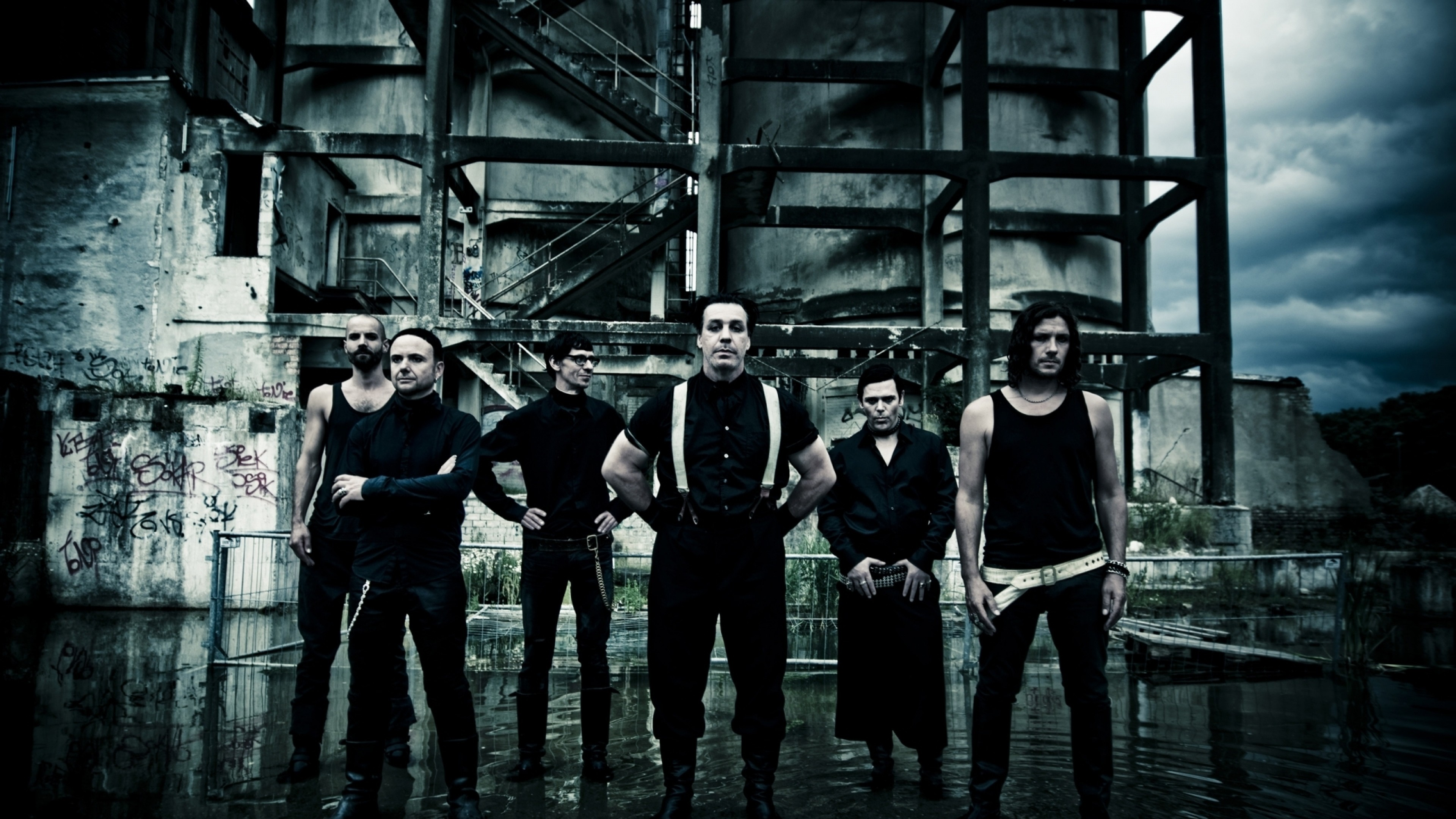 3840x2160 Preview wallpaper rammstein, band, members, gloom, outdoors
