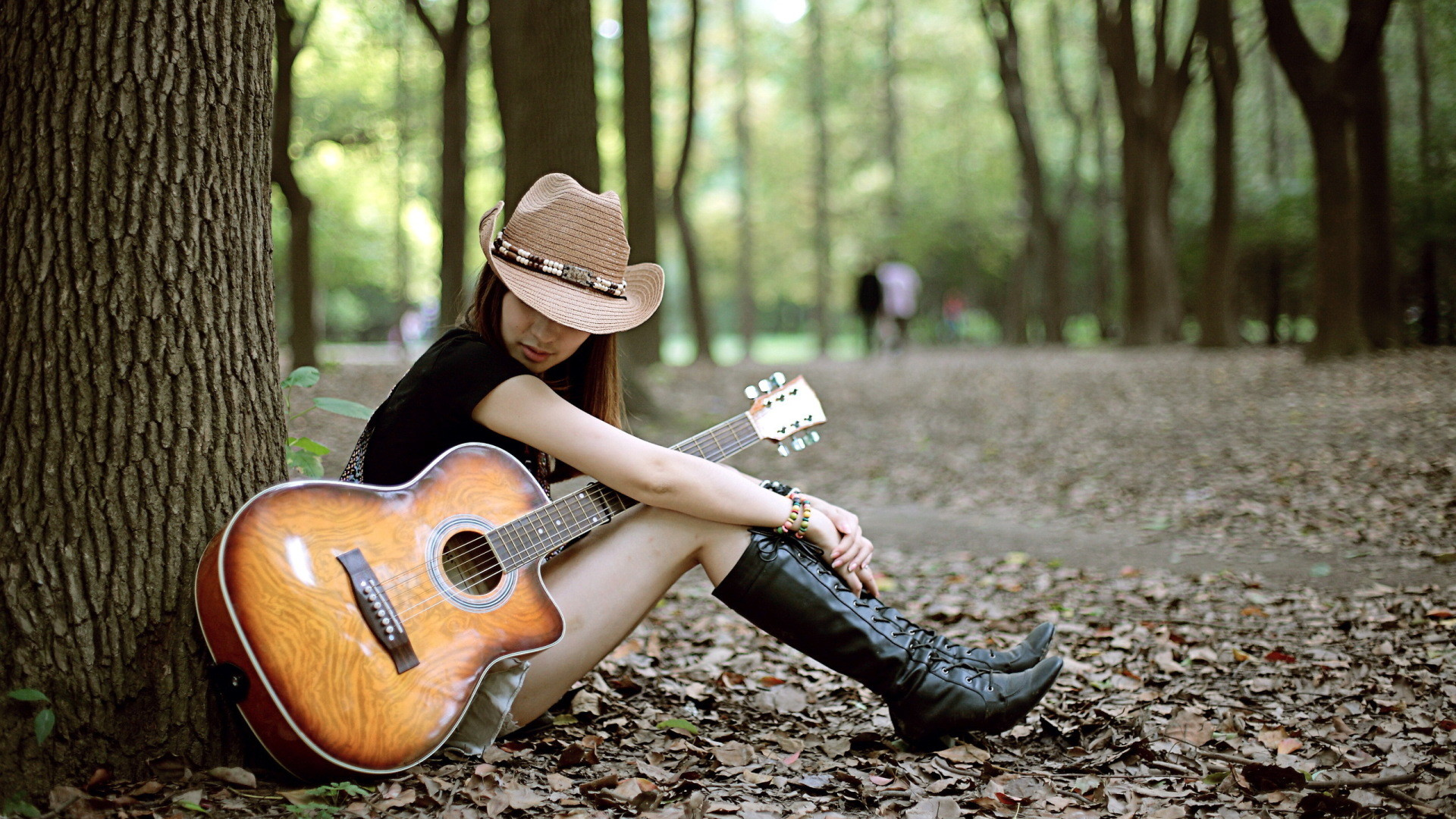 1920x1080 Guitar Girl Background Wallpapers 21916