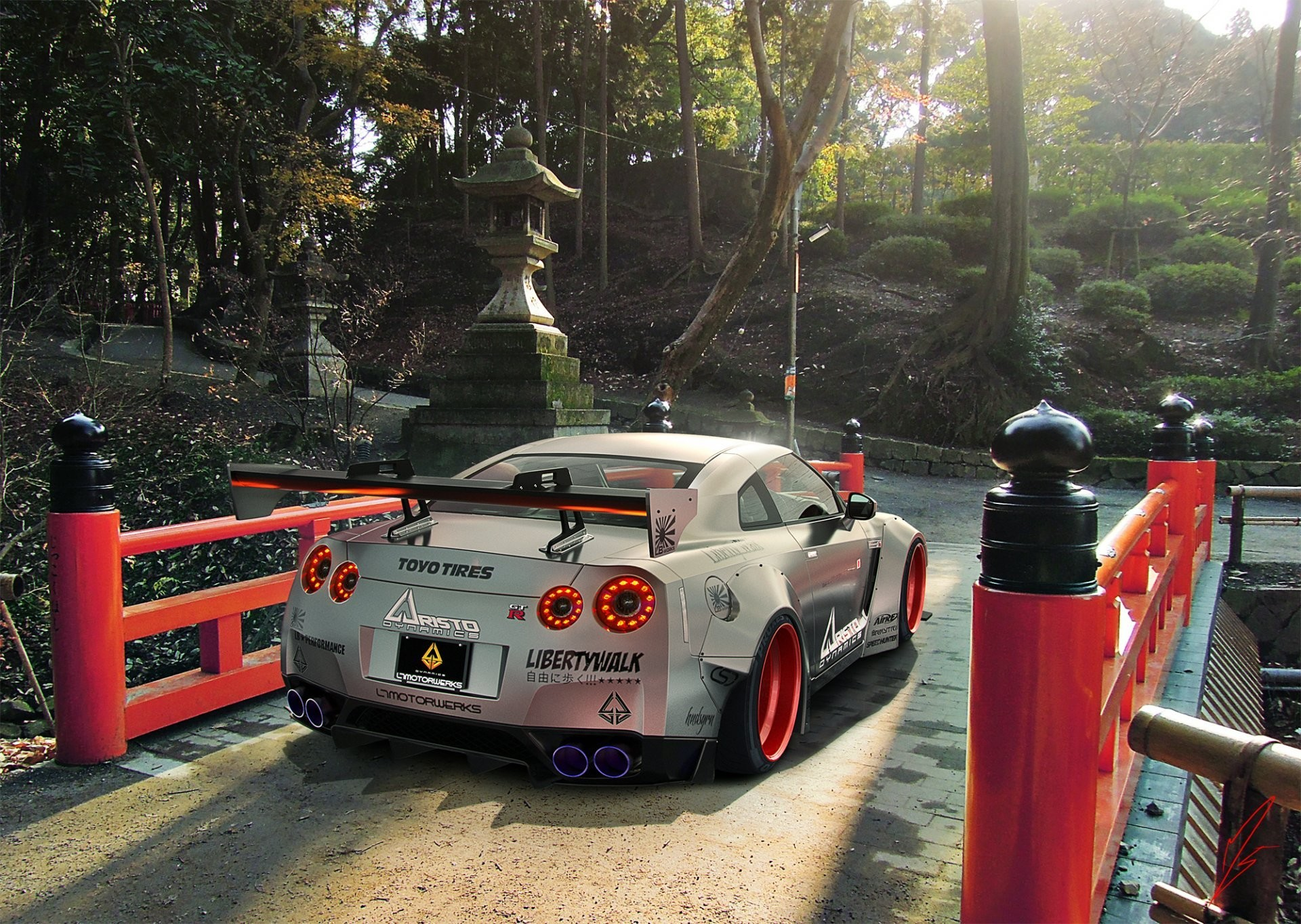 1920x1364 nissan gtr r35 liberty walk silver rear japan sport car