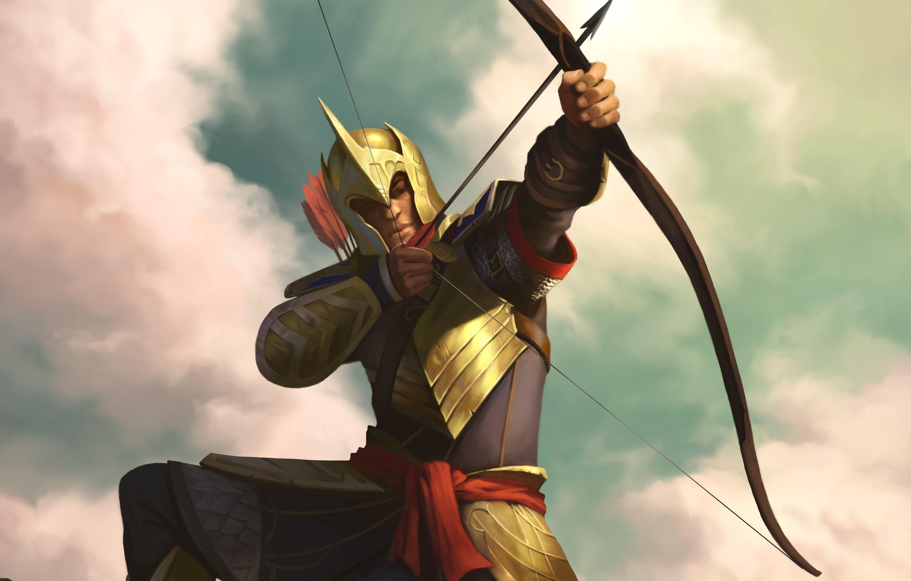 3000x1914 archer load bow man free hd wallpaper
