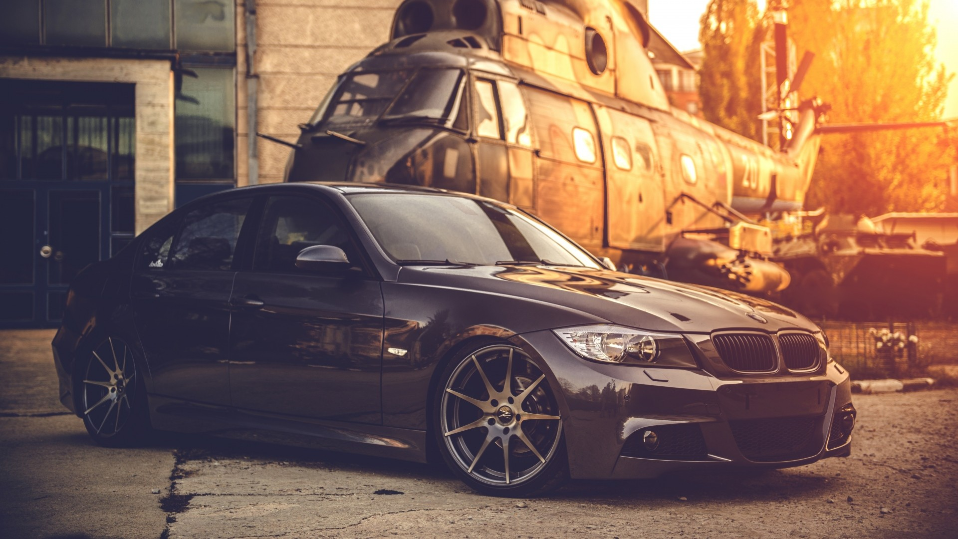 1920x1080 Preview wallpaper bmw, e90, deep concave, black, helicopter
