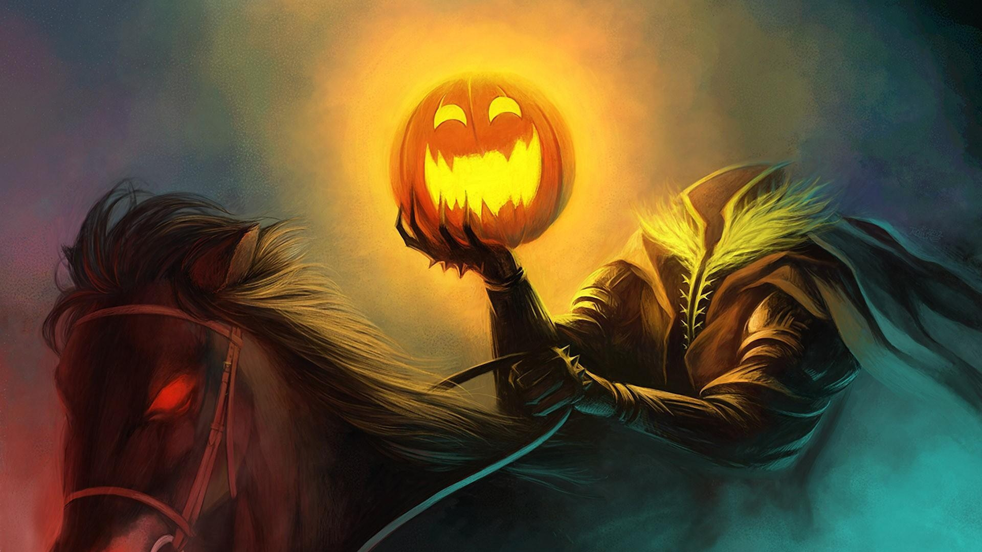 3840x2160  Wallpaper halloween, holiday, headless horseman, pumpkin, horse
