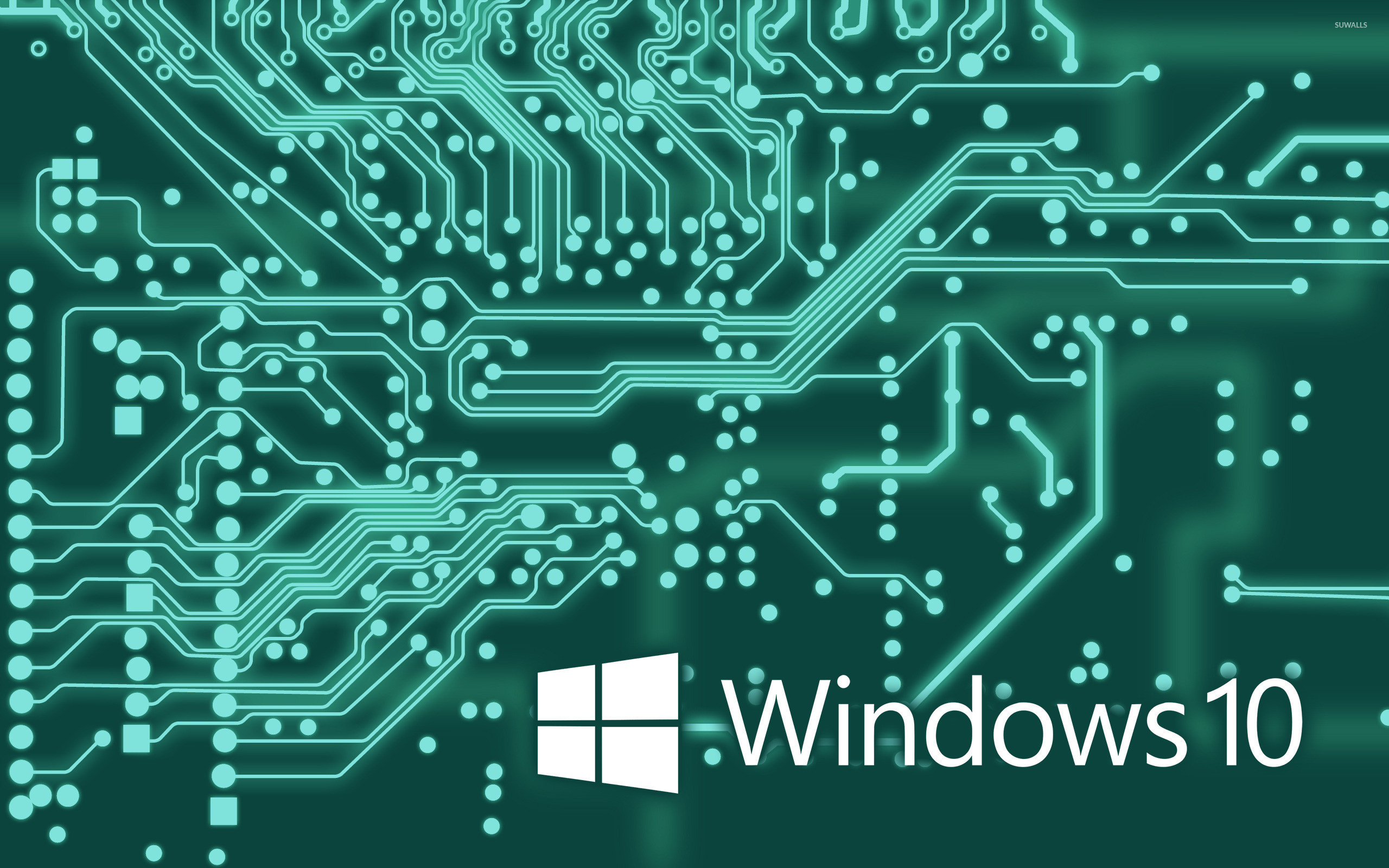 2560x1600 Windows 10 white text logo on the circuit board wallpaper