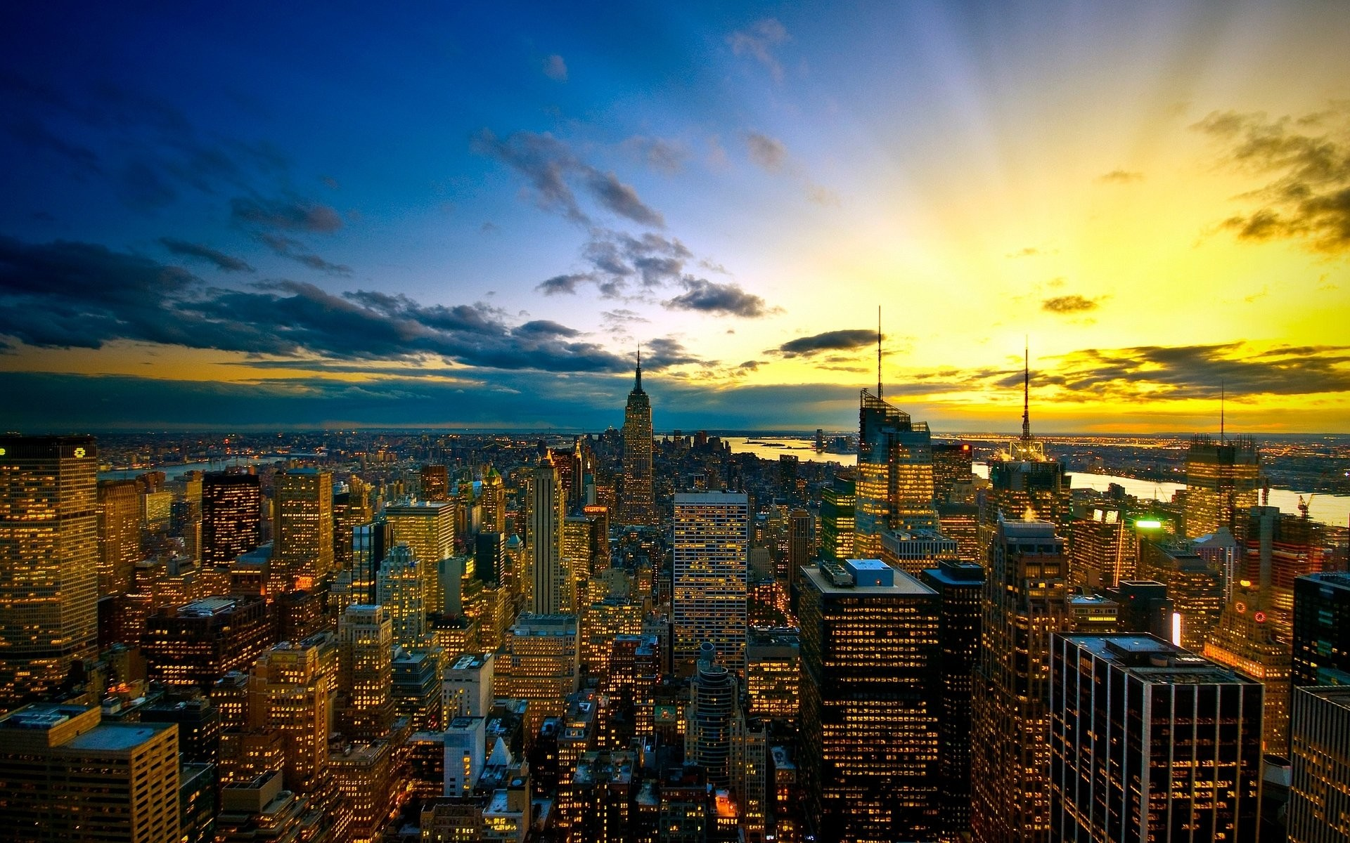 1920x1200 Sunset Cityscape City Empire State Building USA New York Wallpapers HD Desktop And Mobile Backgrounds