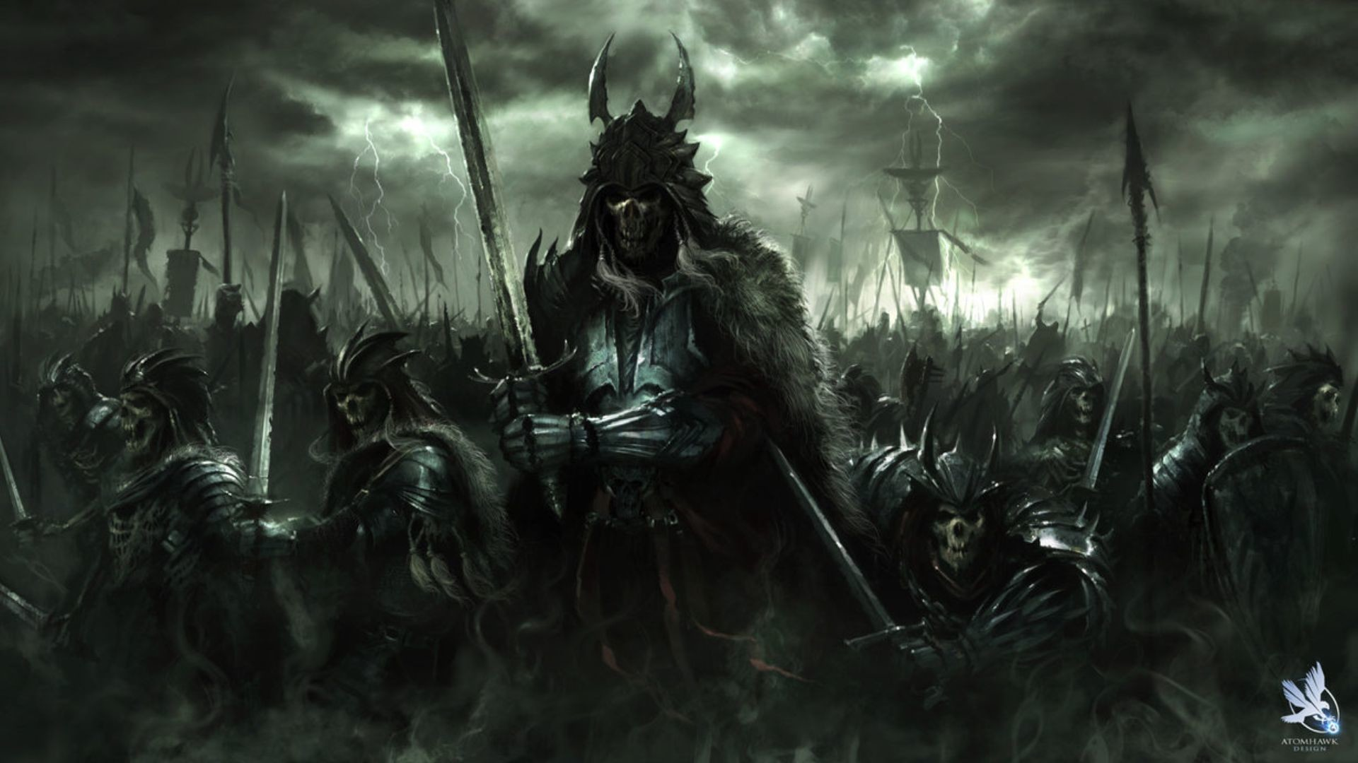1920x1080 ... Fantasy Art Dark Horror Demon Skull Warrior Wepons Army Wallpaper ...