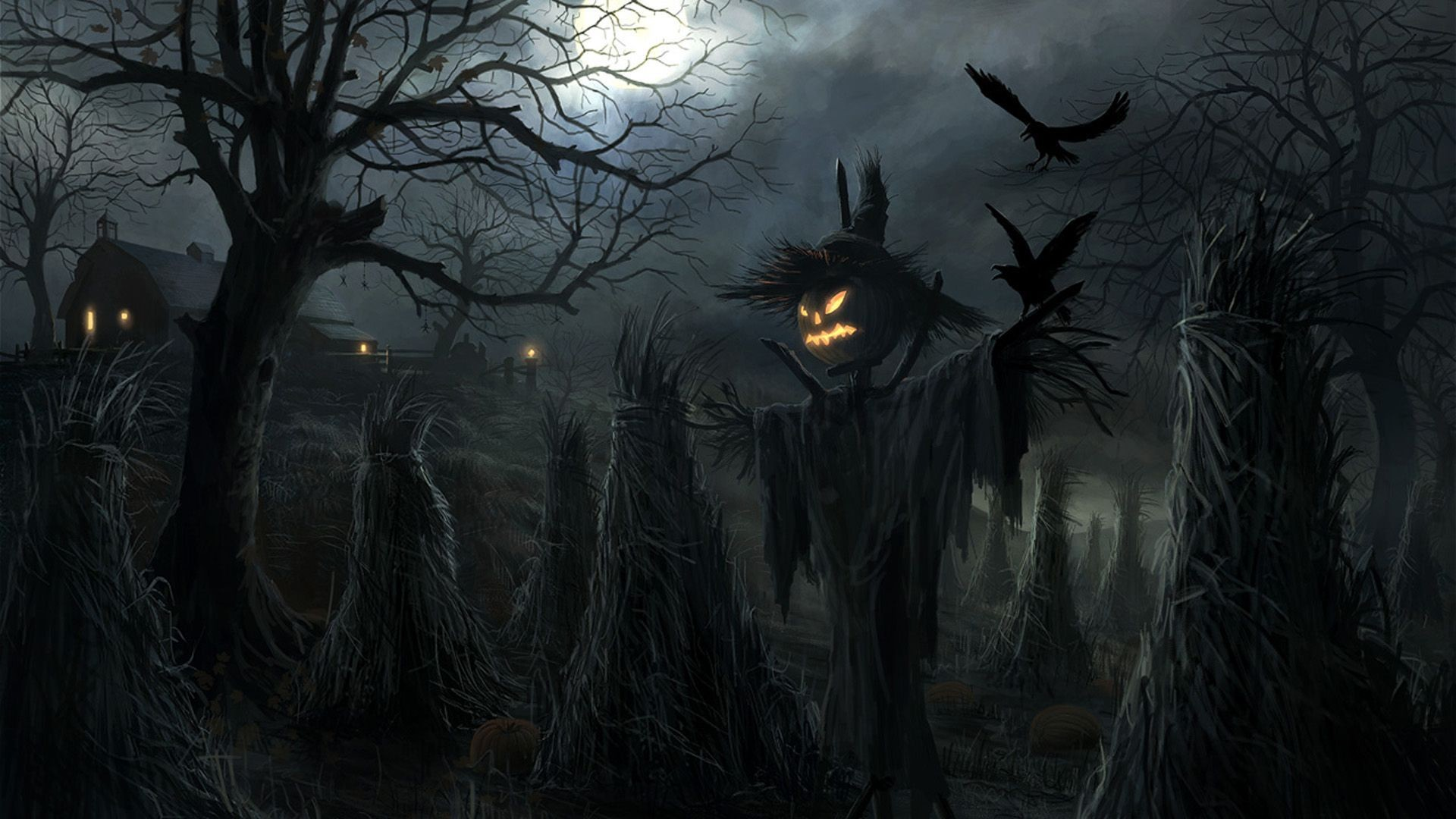 1920x1080 Crows Pumpkin Art Halloween Wallpaper Wallpaper