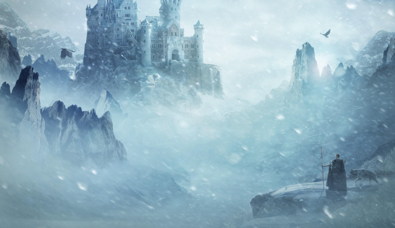 1080x1920 Preview Wallpaper Castle City Sky Forest Winter Snow