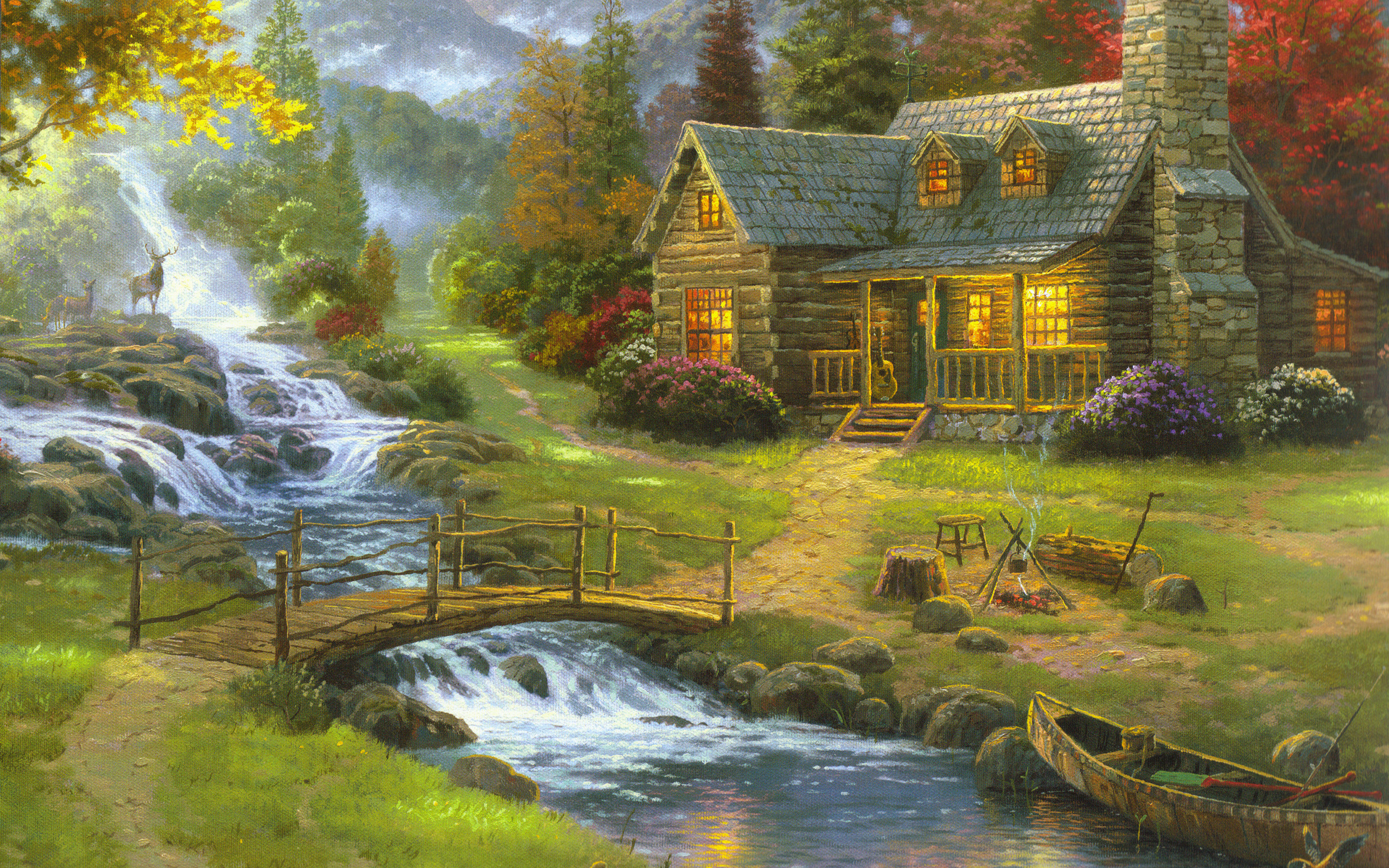2560x1600 Artistic - Painting House Artistic Waterfall Mountain Cottage Canoe Bridge  River Deer Wallpaper