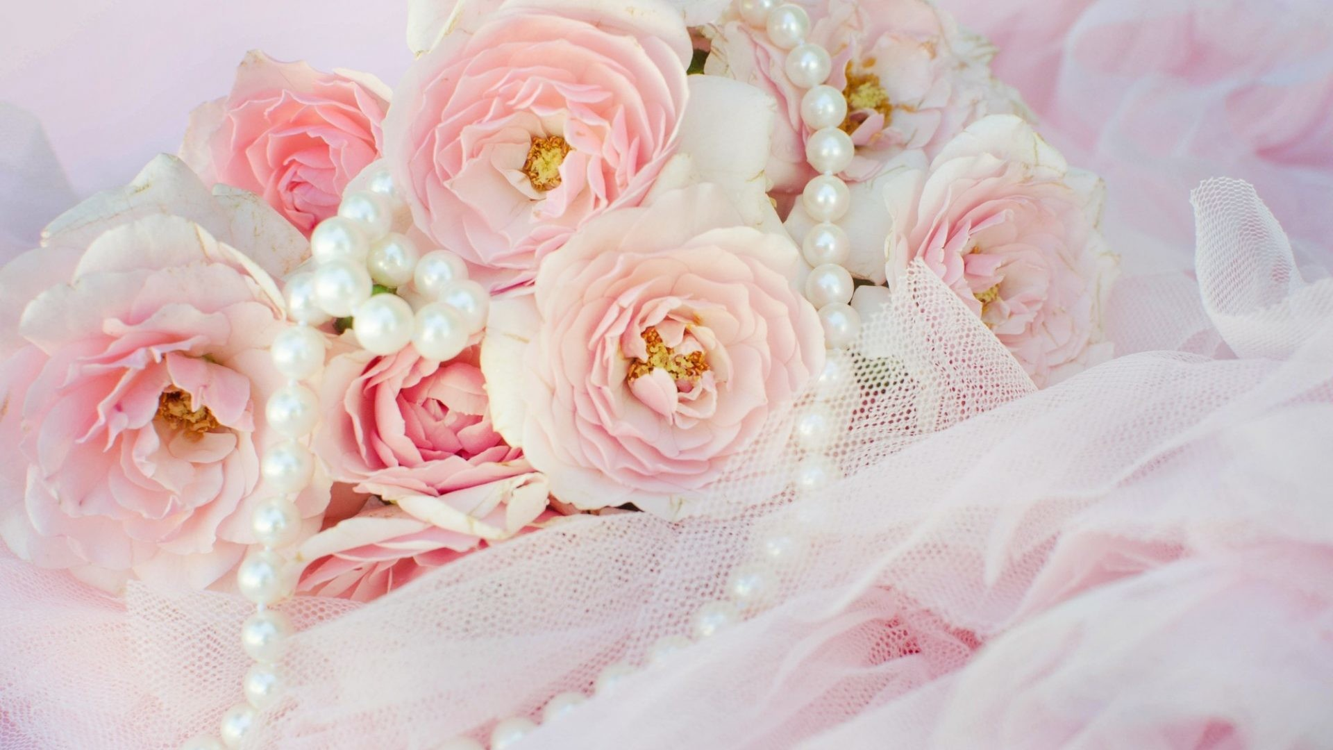 1920x1080 Pearls Tag - Roses Pearls Pink Flowers Lace Flower Wallpaper And Backgrounds  for HD 16: