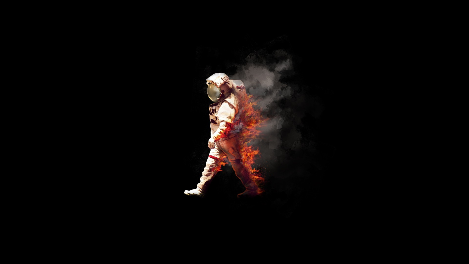 1920x1080 Burning, astronaut, spaceman, fire, NASA, spacesuit