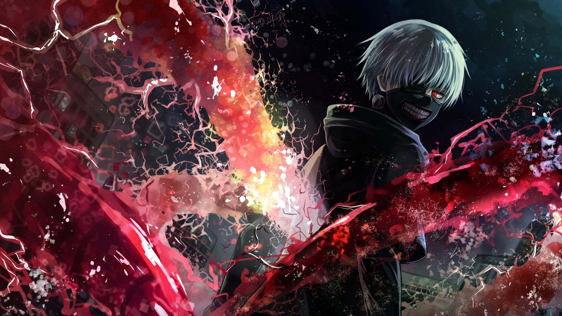 1920x1080 Preview wallpaper tokyo ghoul, kaneki ken, man, mask, magic, art